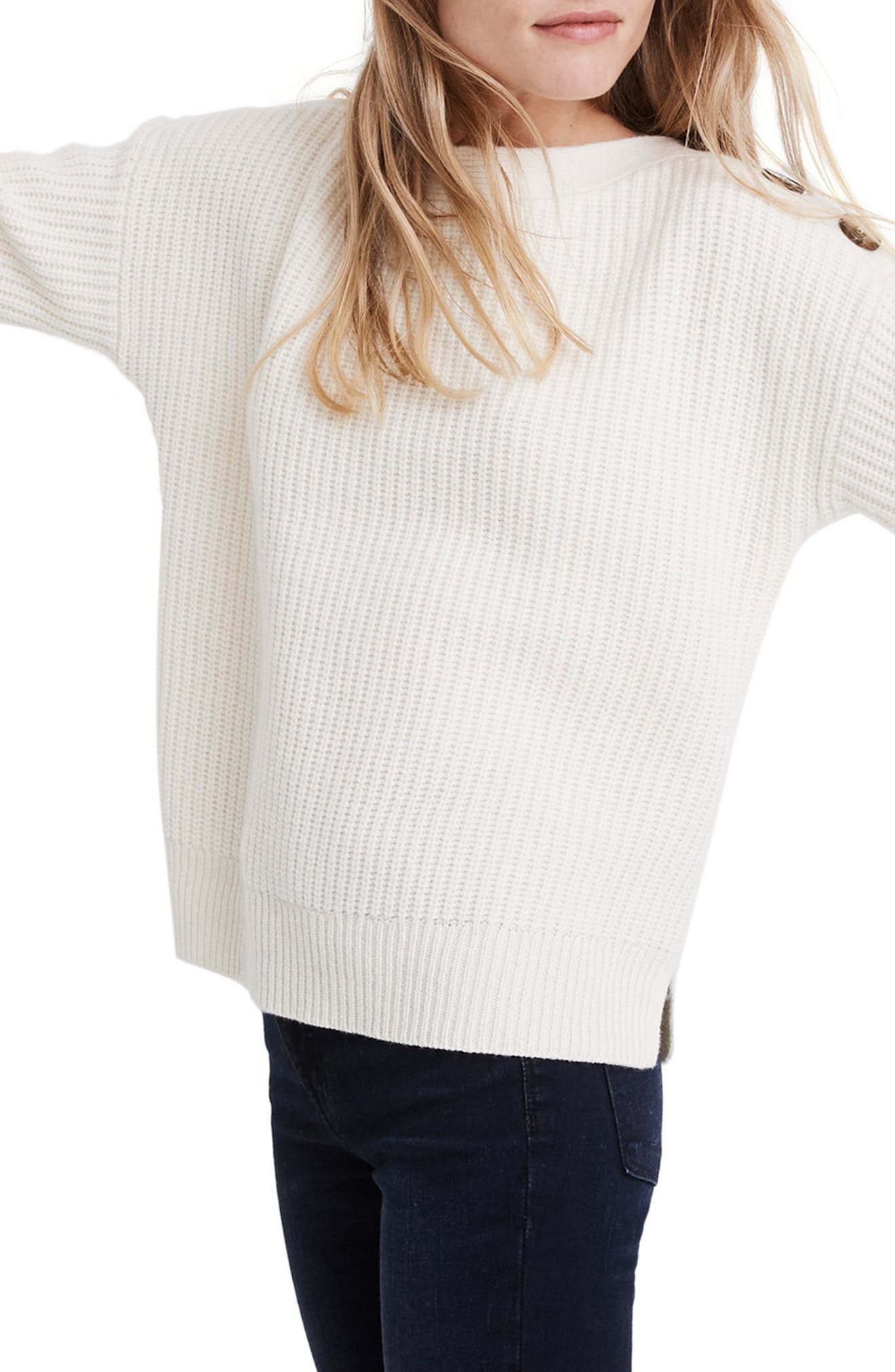 Boat Neck Button Shoulder Sweater,                             Alternate thumbnail 3, color,                             ANTIQUE CREAM