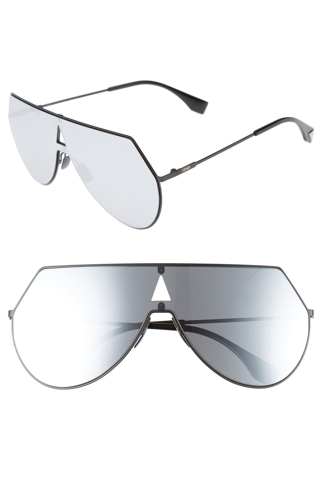 99mm Eyeline Aviator Sunglasses,                             Main thumbnail 1, color,                             MATTE BLACK