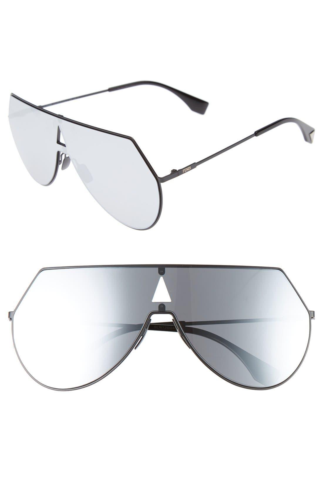 99mm Eyeline Aviator Sunglasses,                         Main,                         color, MATTE BLACK