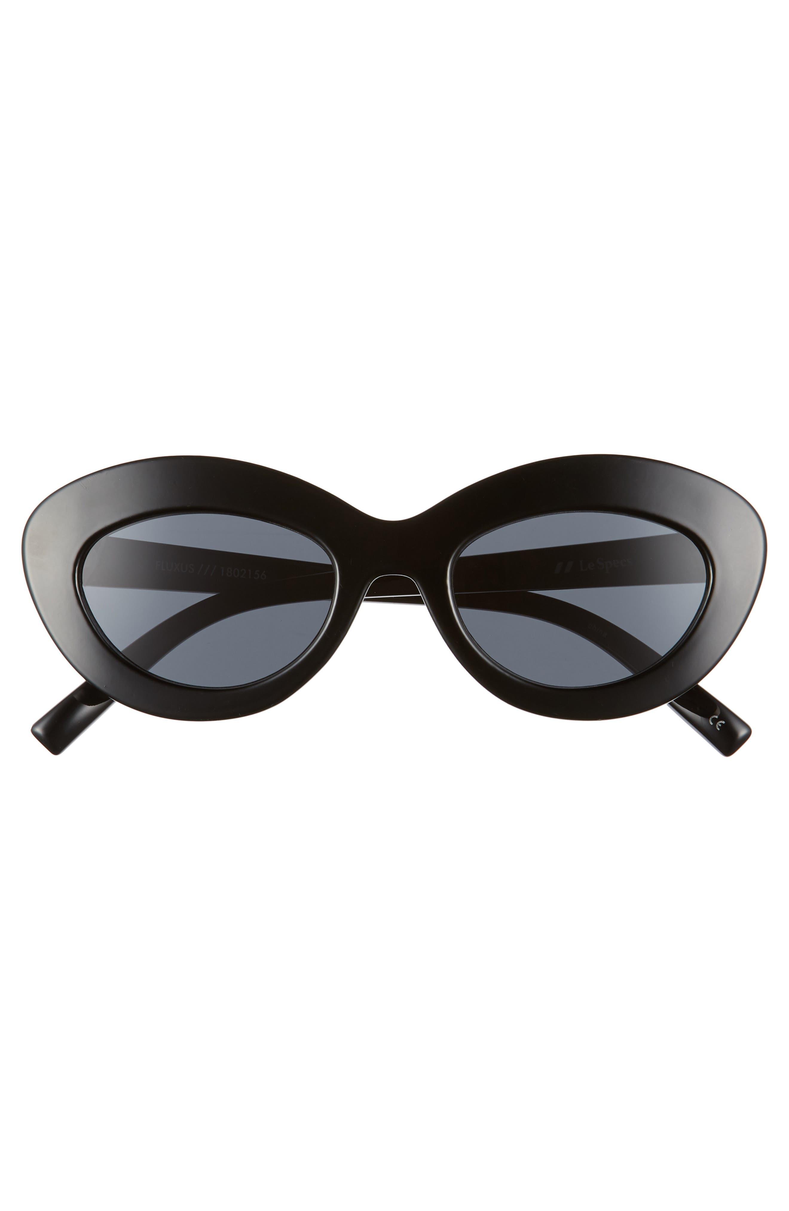 Fluxus 48mm Cat Eye Sunglasses,                             Alternate thumbnail 3, color,                             BLACK