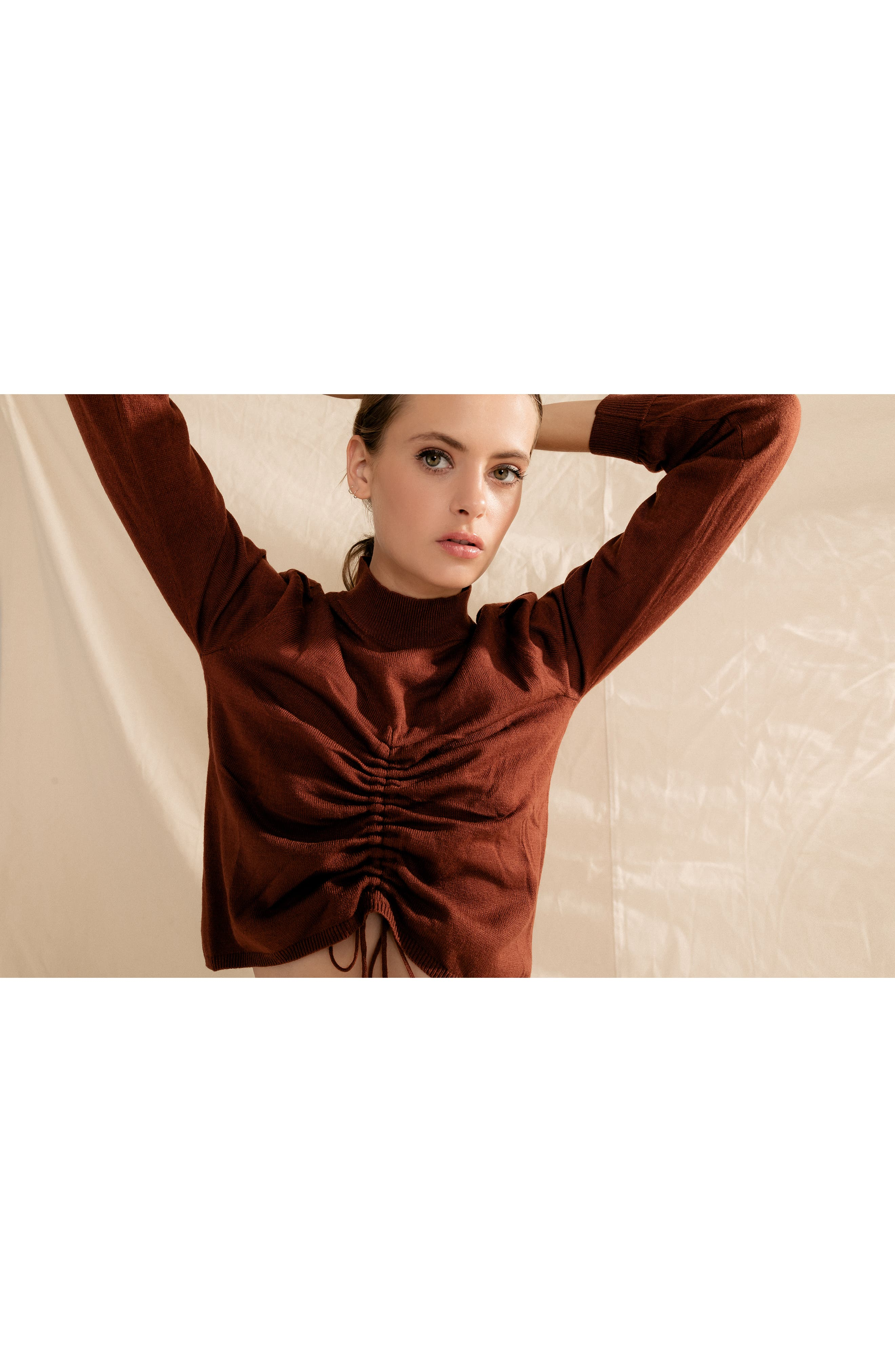 Chriselle Lim Madison Ruched Sweater,                             Alternate thumbnail 8, color,                             RUST