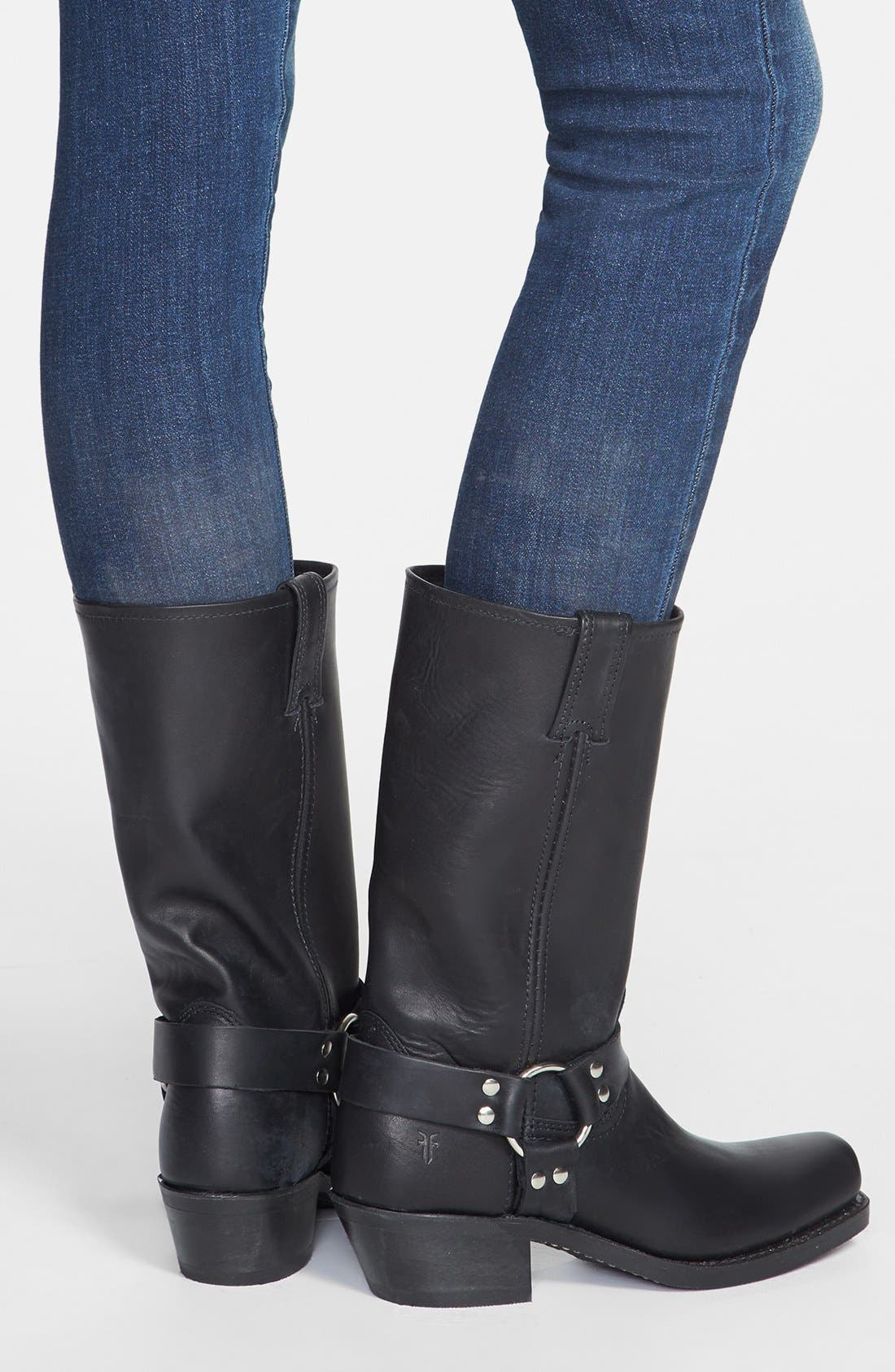 'Harness 12R' Leather Boot,                             Alternate thumbnail 5, color,                             BLACK