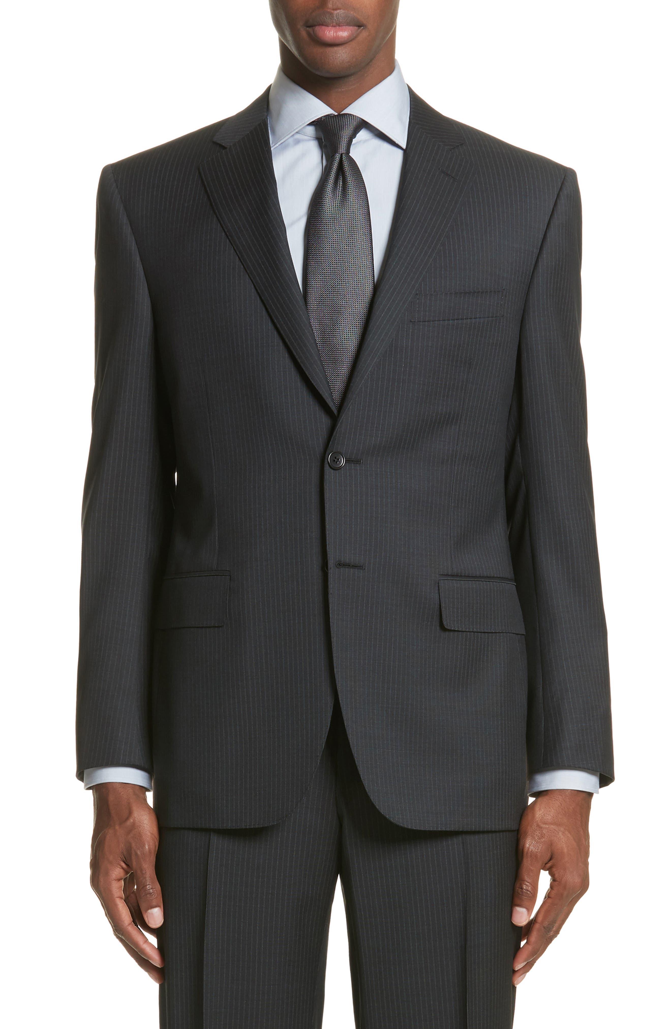 CANALI,                             Classic Fit Stripe Wool Suit,                             Alternate thumbnail 5, color,                             010