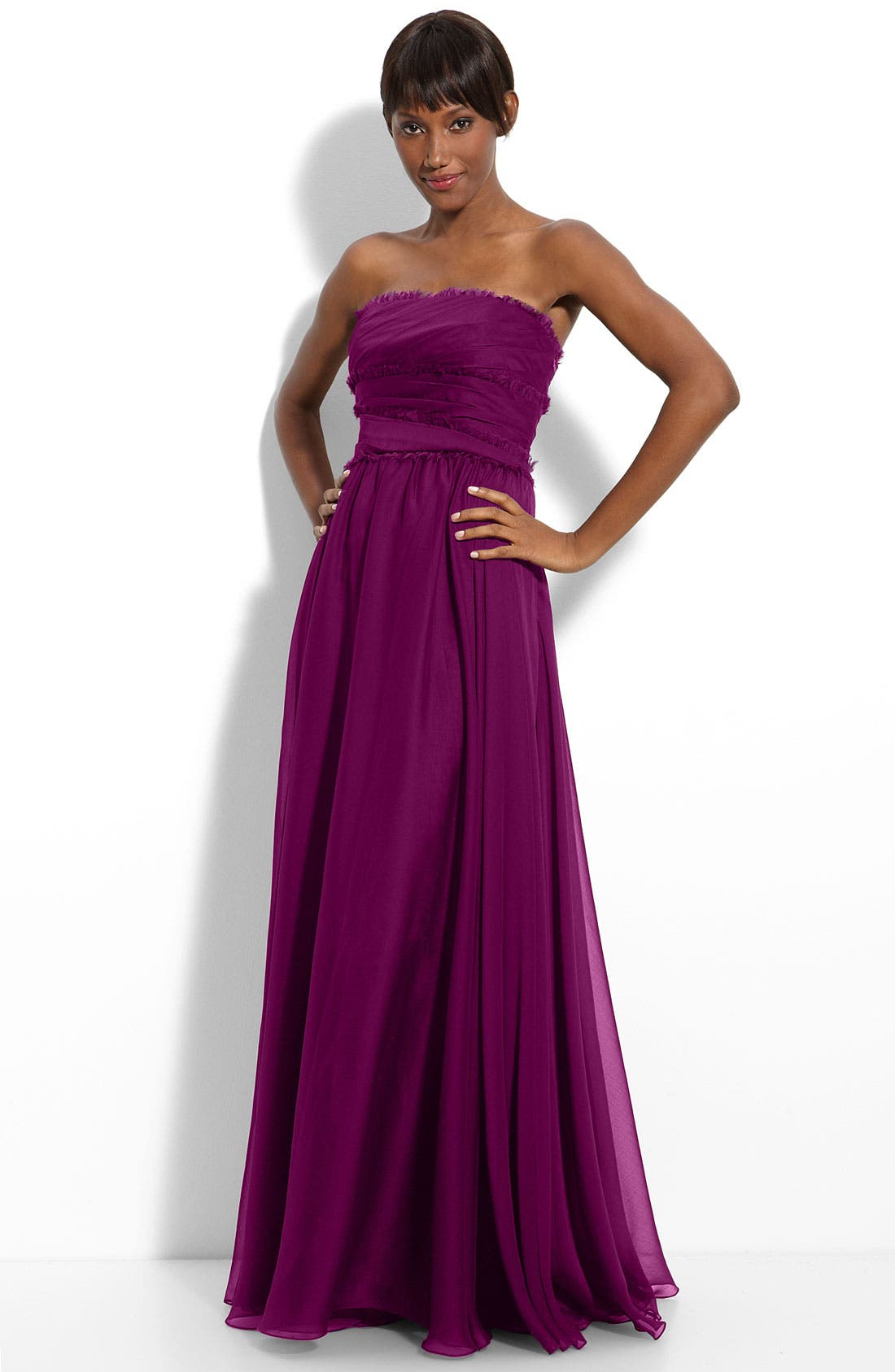 ML Monique Lhuillier Bridesmaids Strapless Chiffon Gown,                             Main thumbnail 13, color,