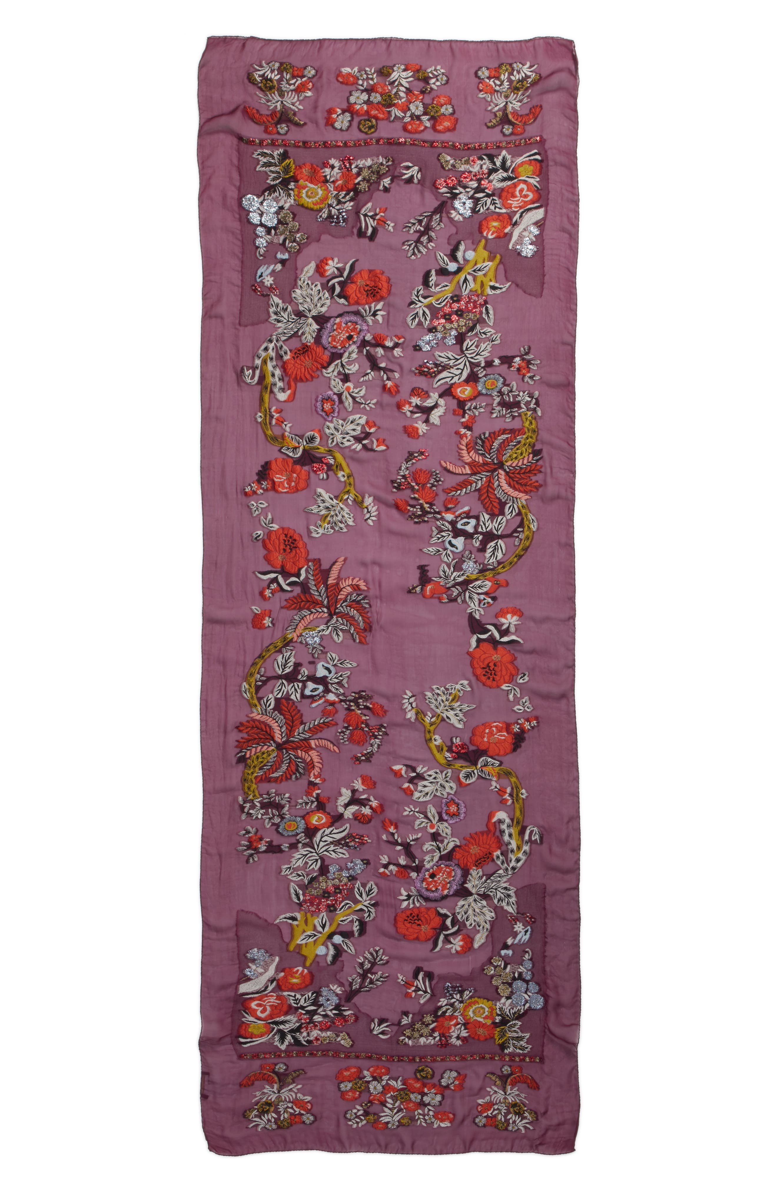Maharaja Embroidered Wrap Scarf,                             Alternate thumbnail 3, color,                             PURPLE MULTI
