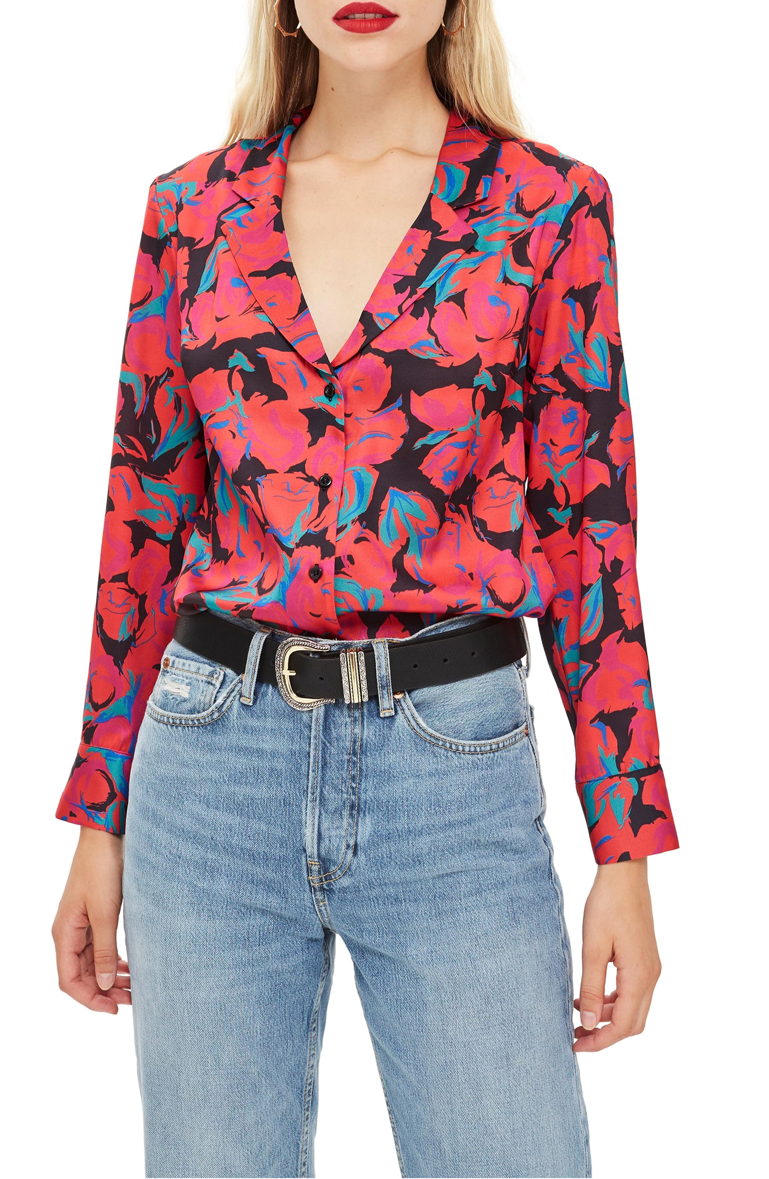 Floral Pajama Style Shirt,                             Main thumbnail 1, color,                             RED MULTI