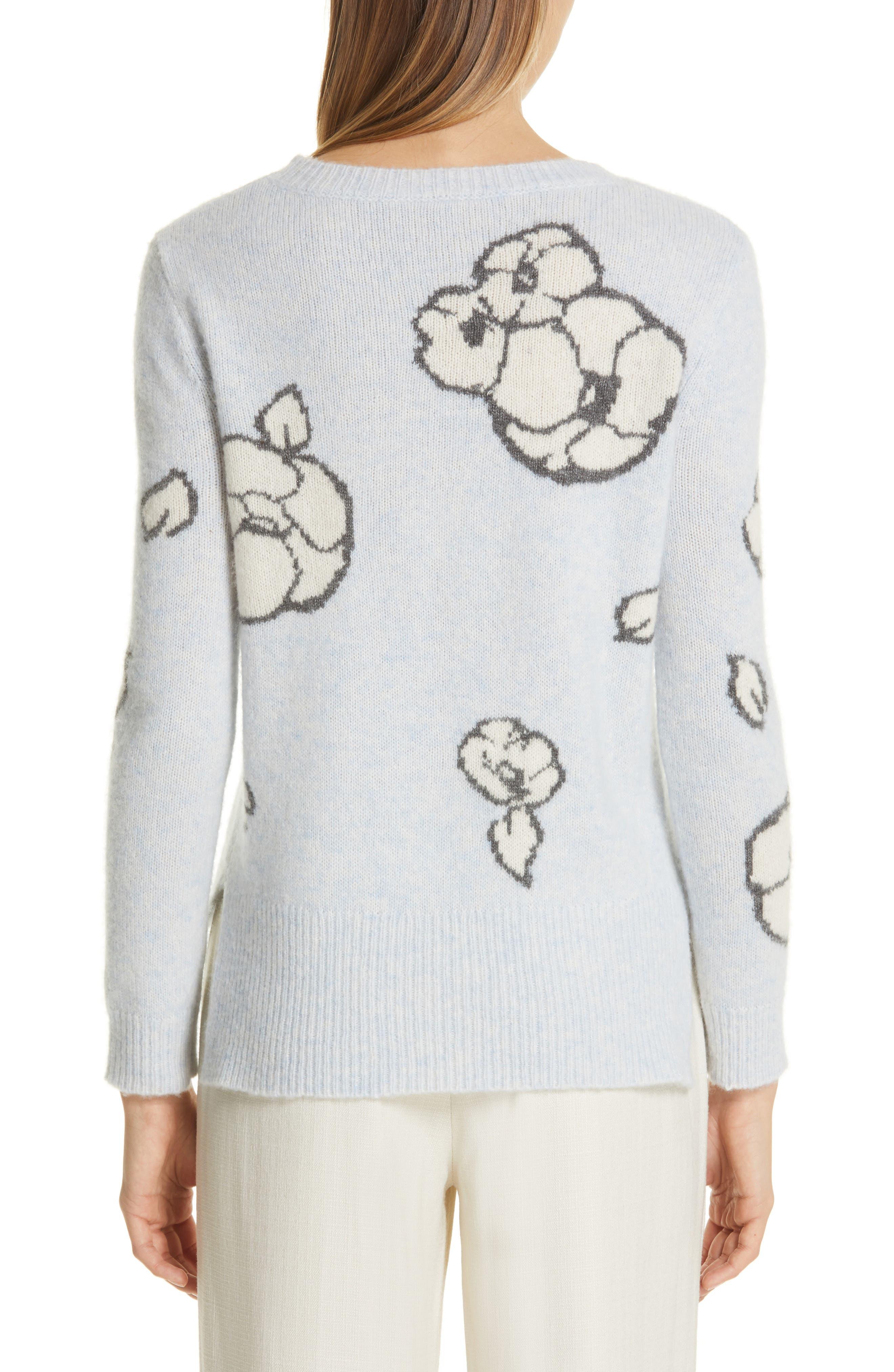 Intarsia Brushed Cashmere & Silk Sweater,                             Alternate thumbnail 2, color,                             ICE BLUE MULTI