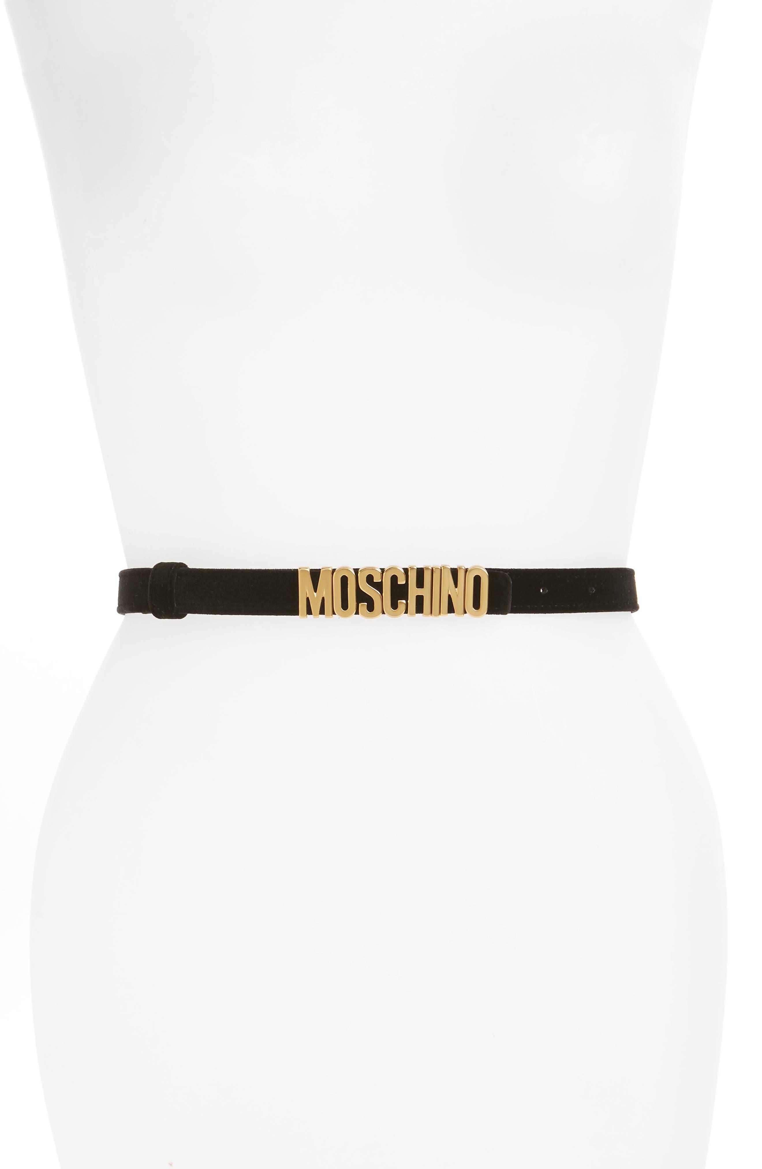 Logo Plate Skinny Velvet Belt,                             Main thumbnail 1, color,                             BLACK WITH GOLD