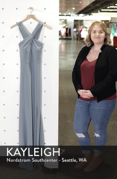 Kayleigh Cross Front Crepe Knit Gown, sales video thumbnail