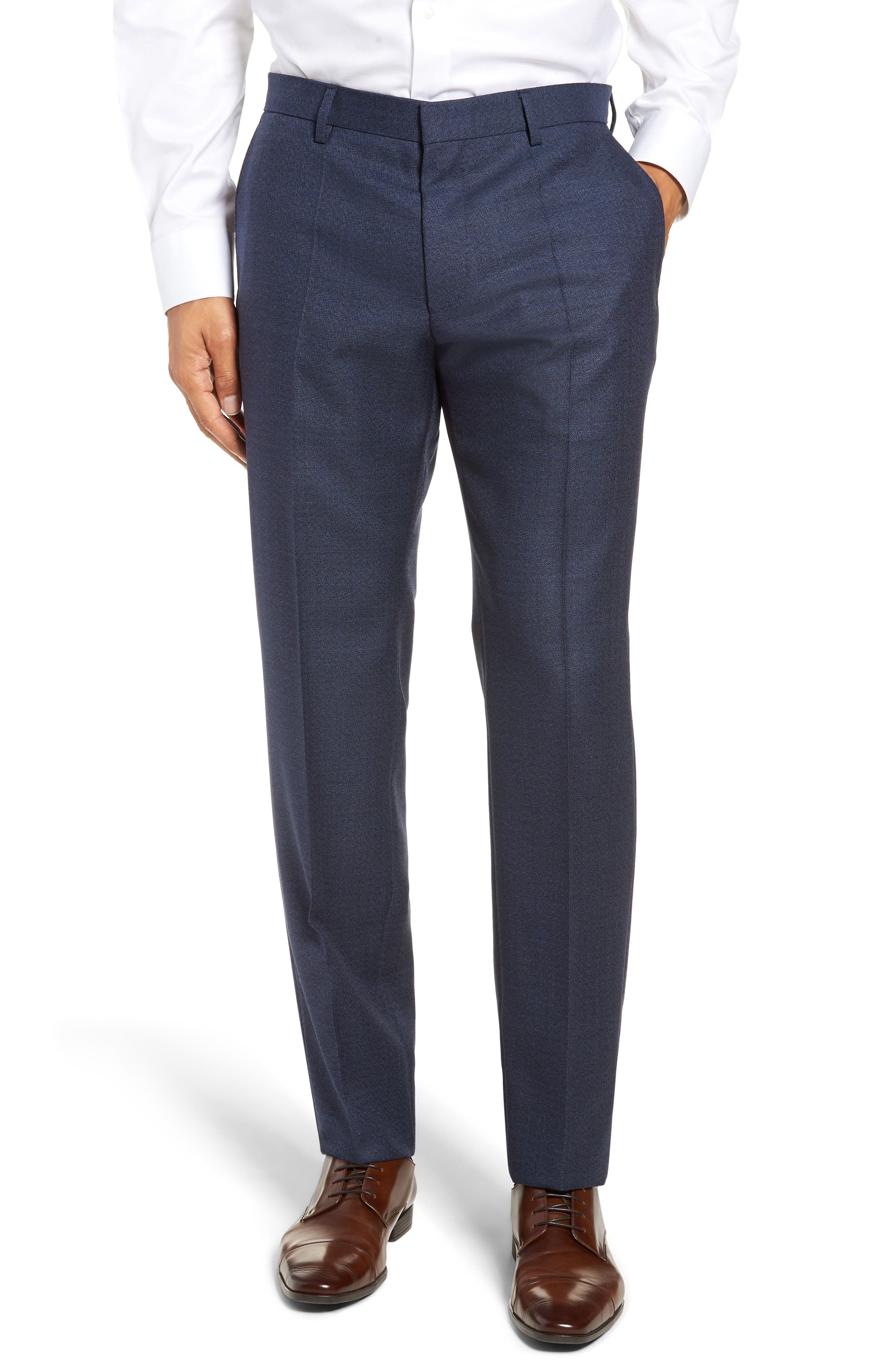Genesis Flat Front Solid Wool Trousers,                             Main thumbnail 1, color,                             OPEN BLUE