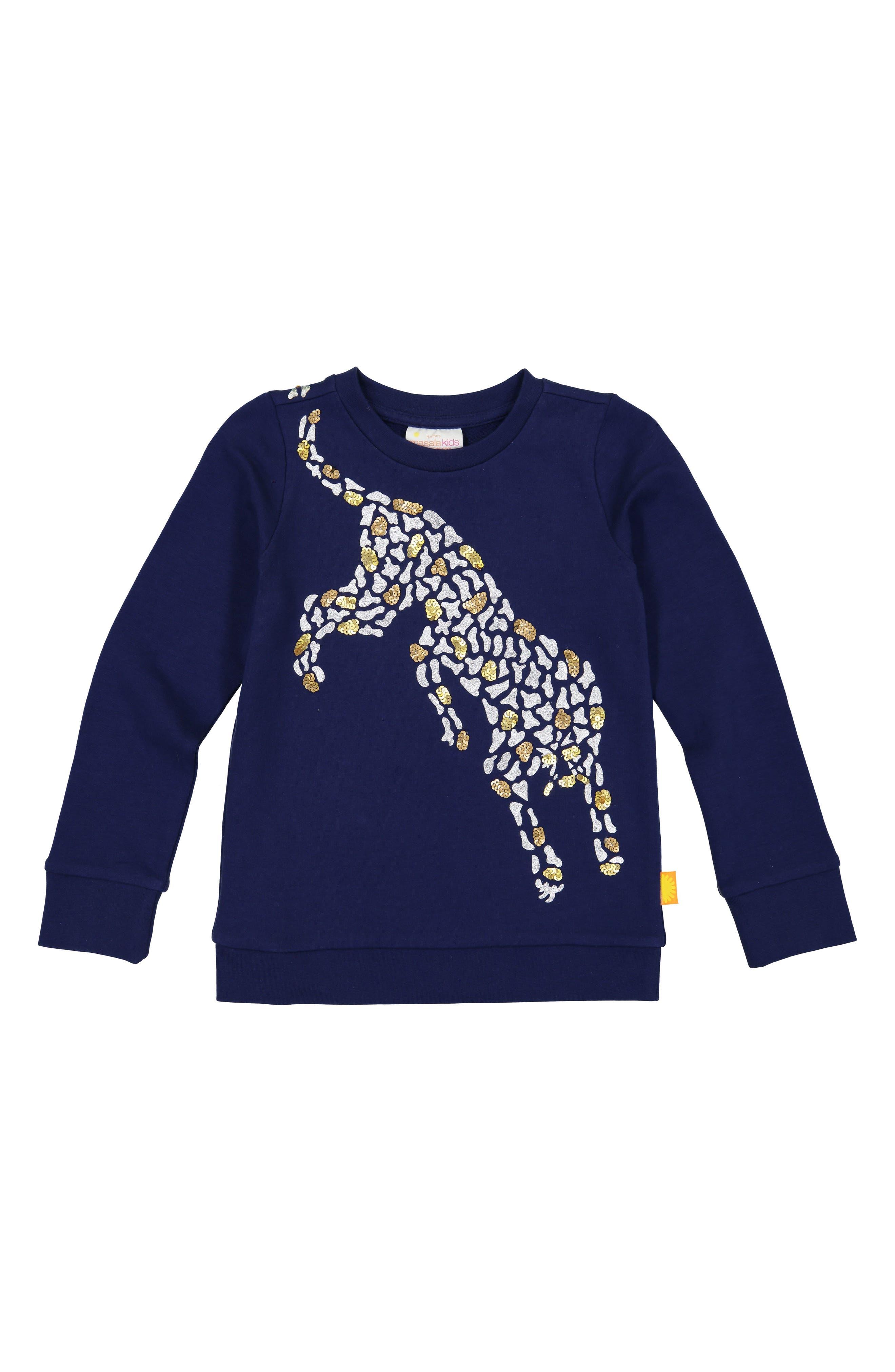 Cheetah Organic Cotton Sweatshirt,                             Main thumbnail 1, color,                             NAVY