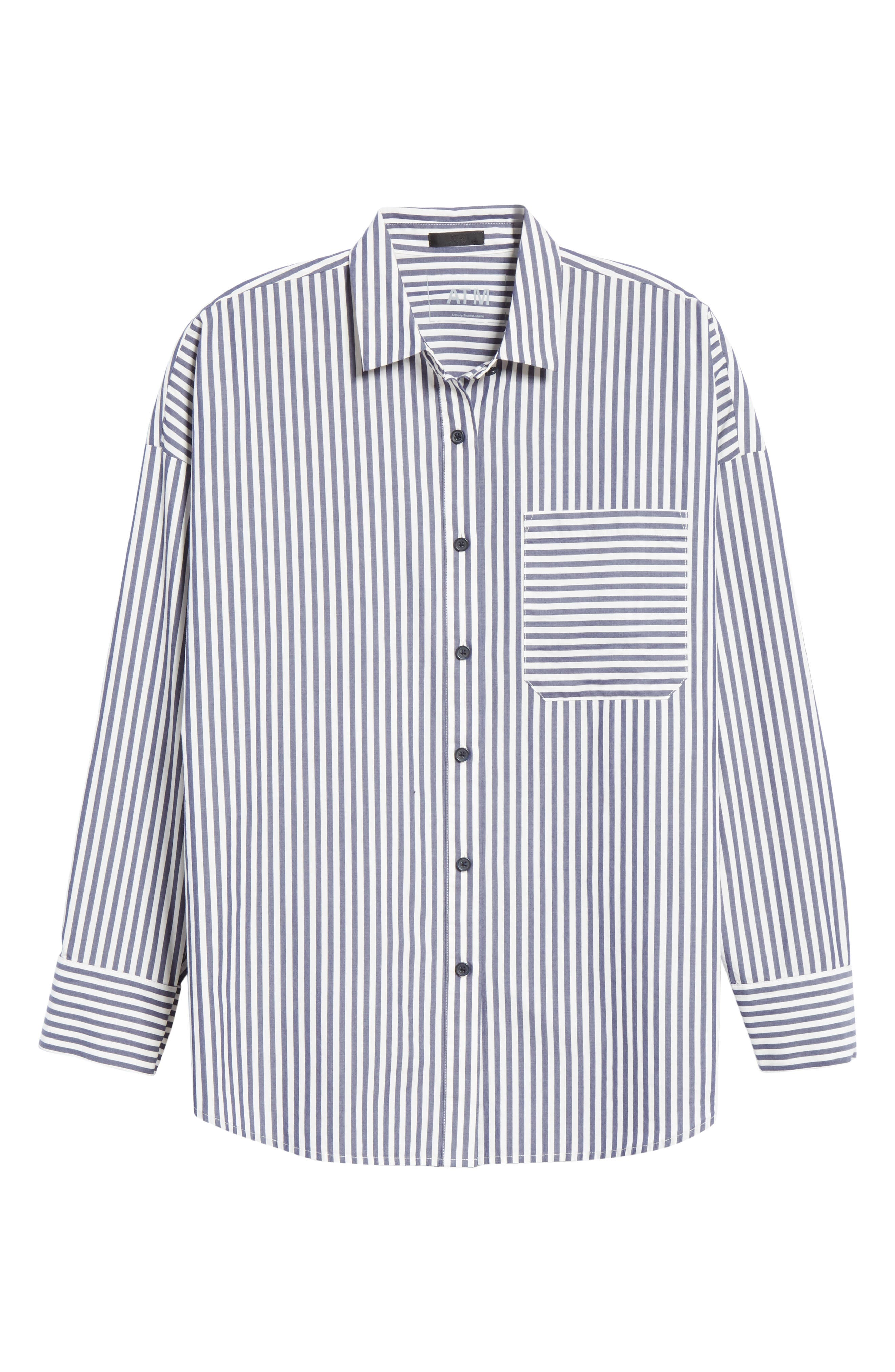 Railroad Stripe Boyfriend Shirt,                             Alternate thumbnail 6, color,                             NAVY/ WHITE