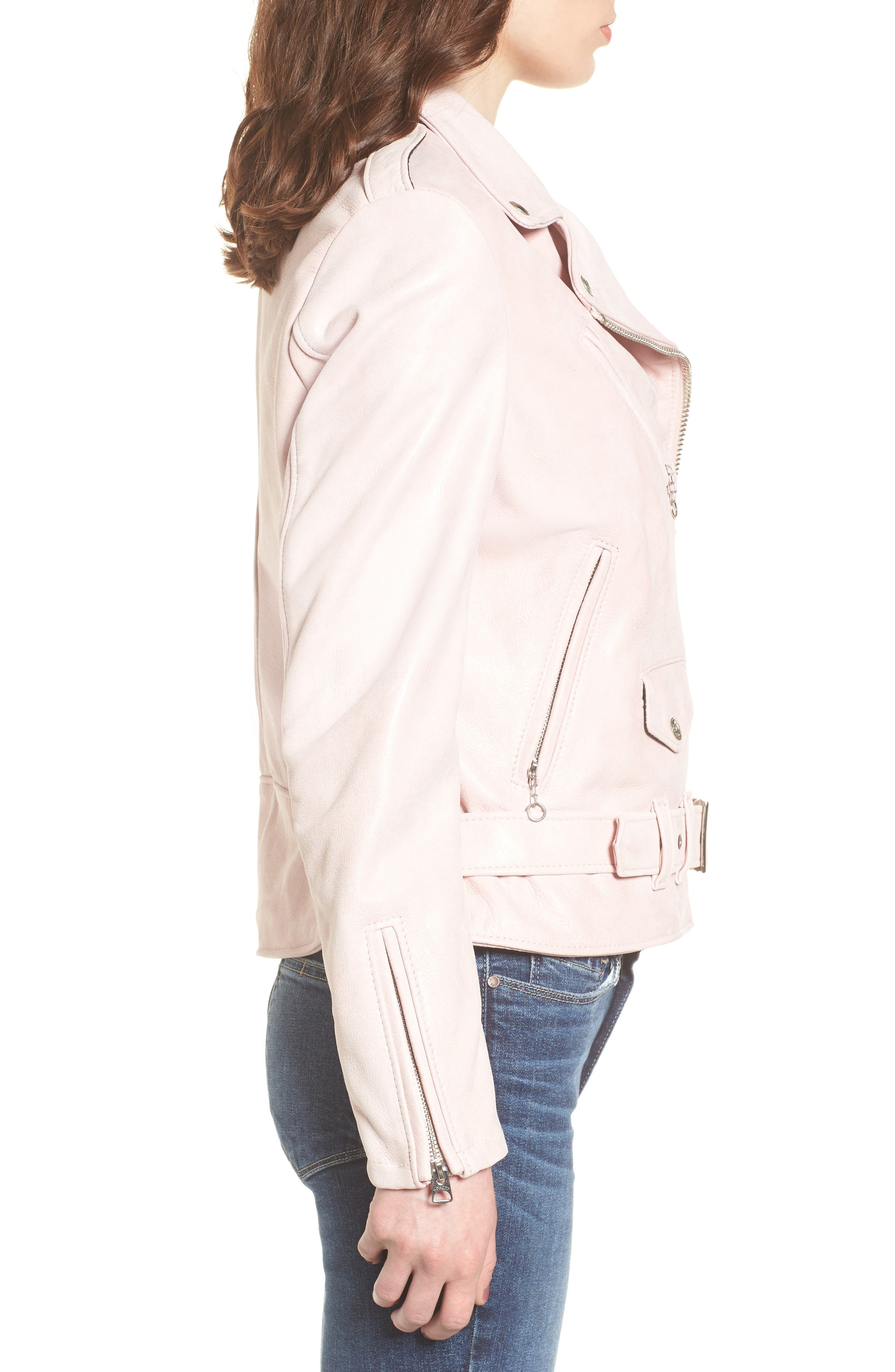 Perfecto Distressed Leather Boyfriend Jacket,                             Alternate thumbnail 9, color,