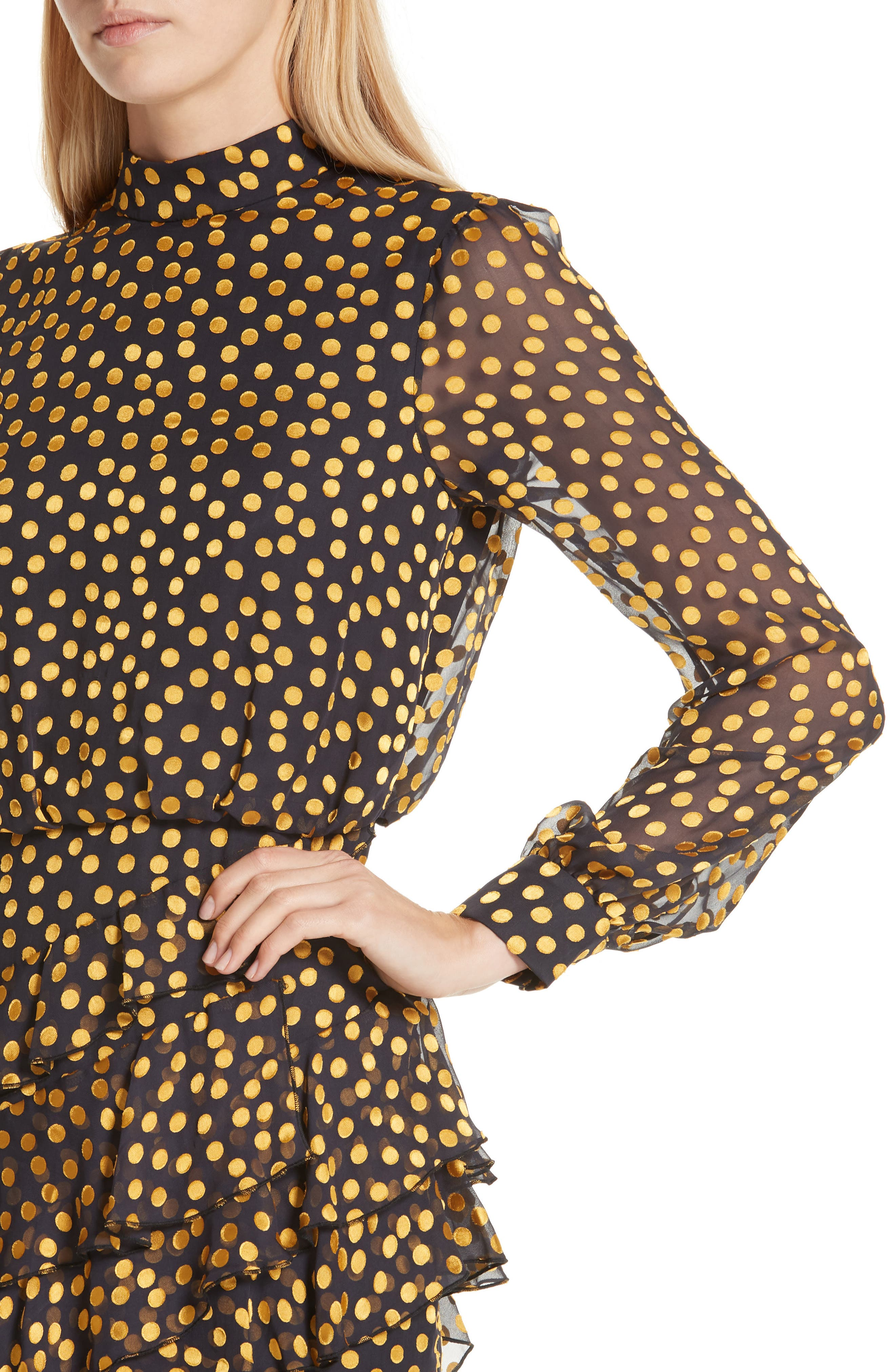 Isa Polka Dot Devoré Satin Dress,                             Alternate thumbnail 4, color,                             BLACK/ YELLOW DOTS