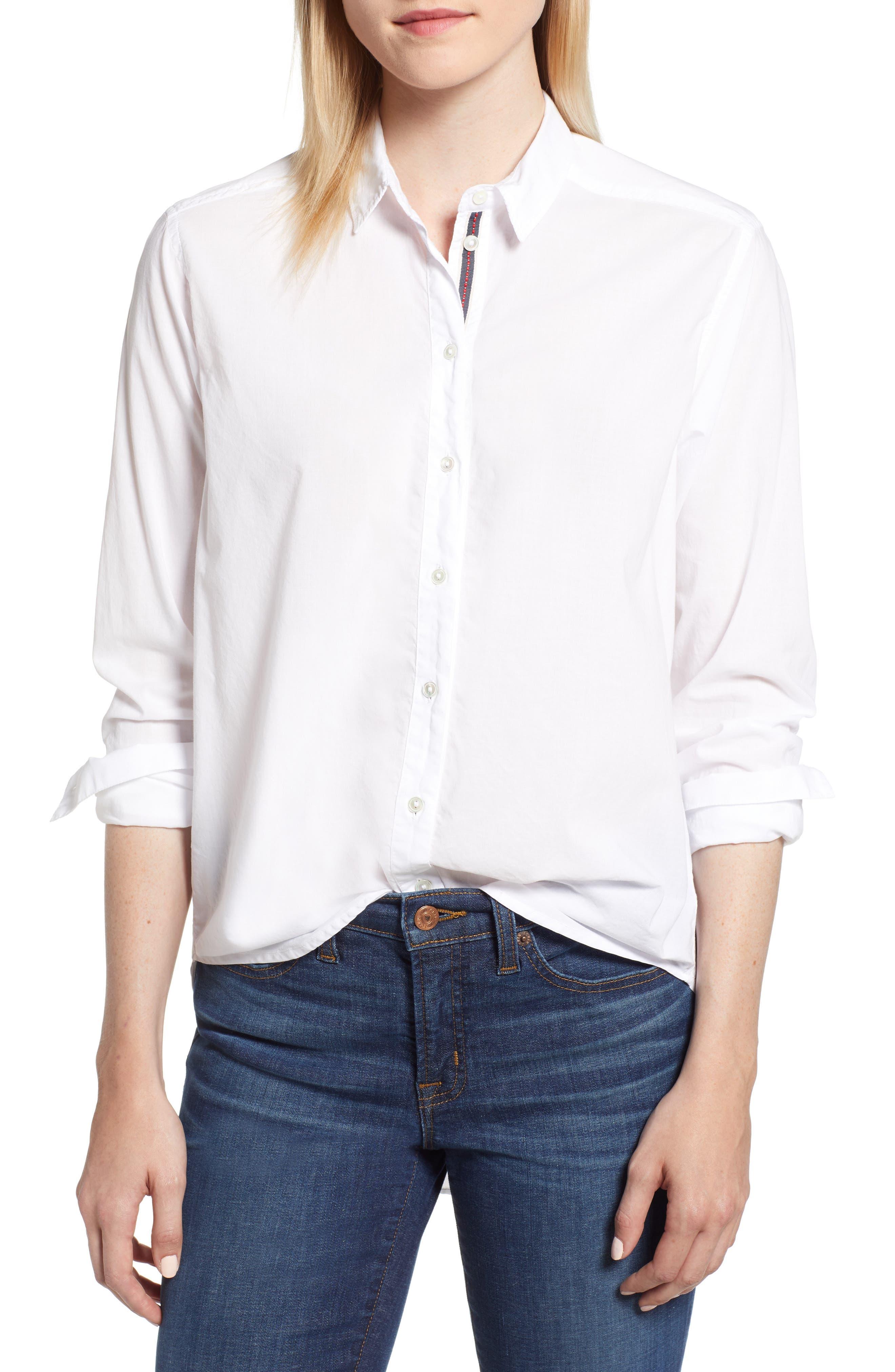Ribbon Placket Cotton Button Up Shirt,                             Main thumbnail 1, color,                             WHITE
