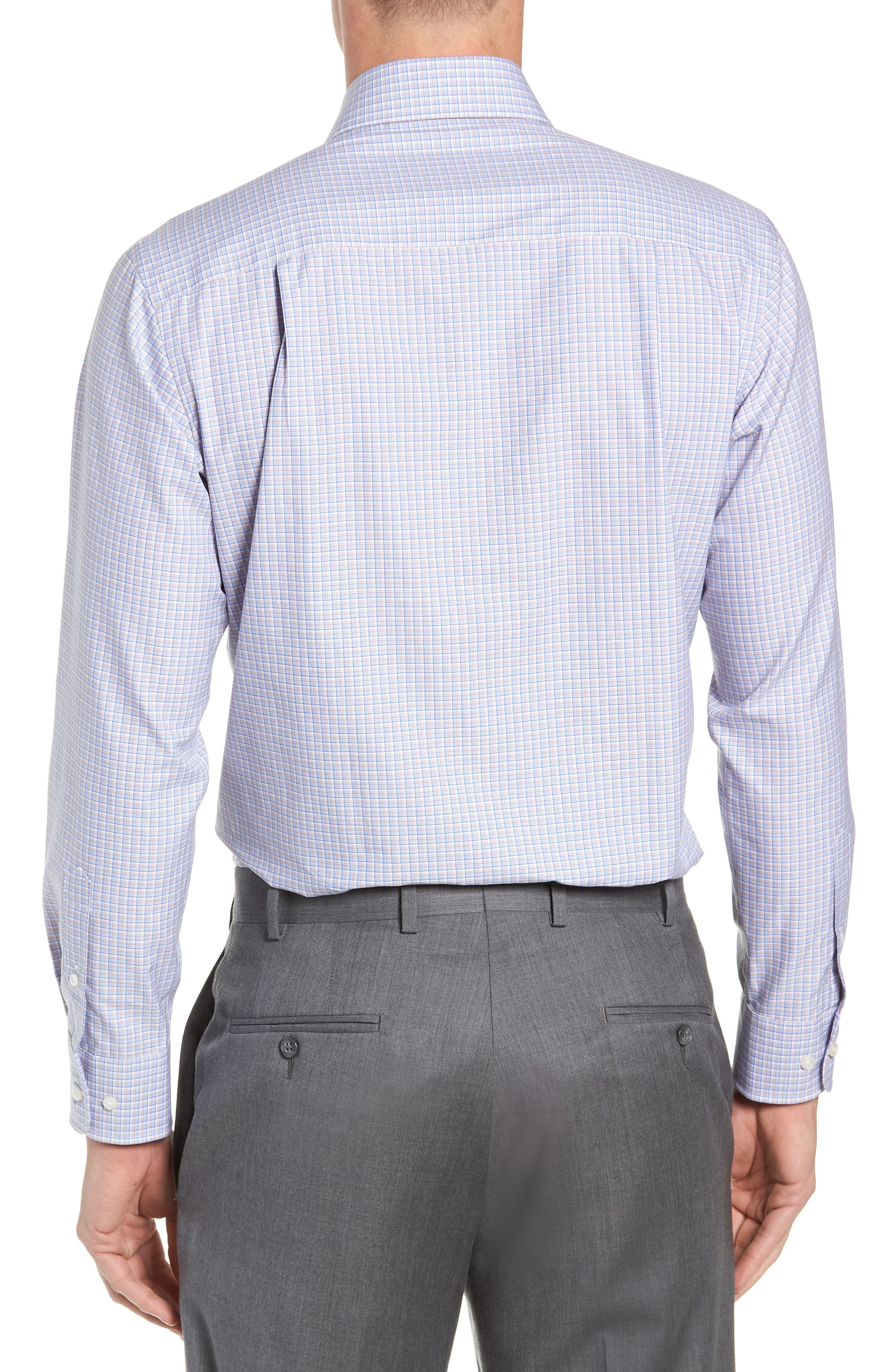 Trim Fit Check Dress Shirt,                             Alternate thumbnail 3, color,                             CHOCOLATE