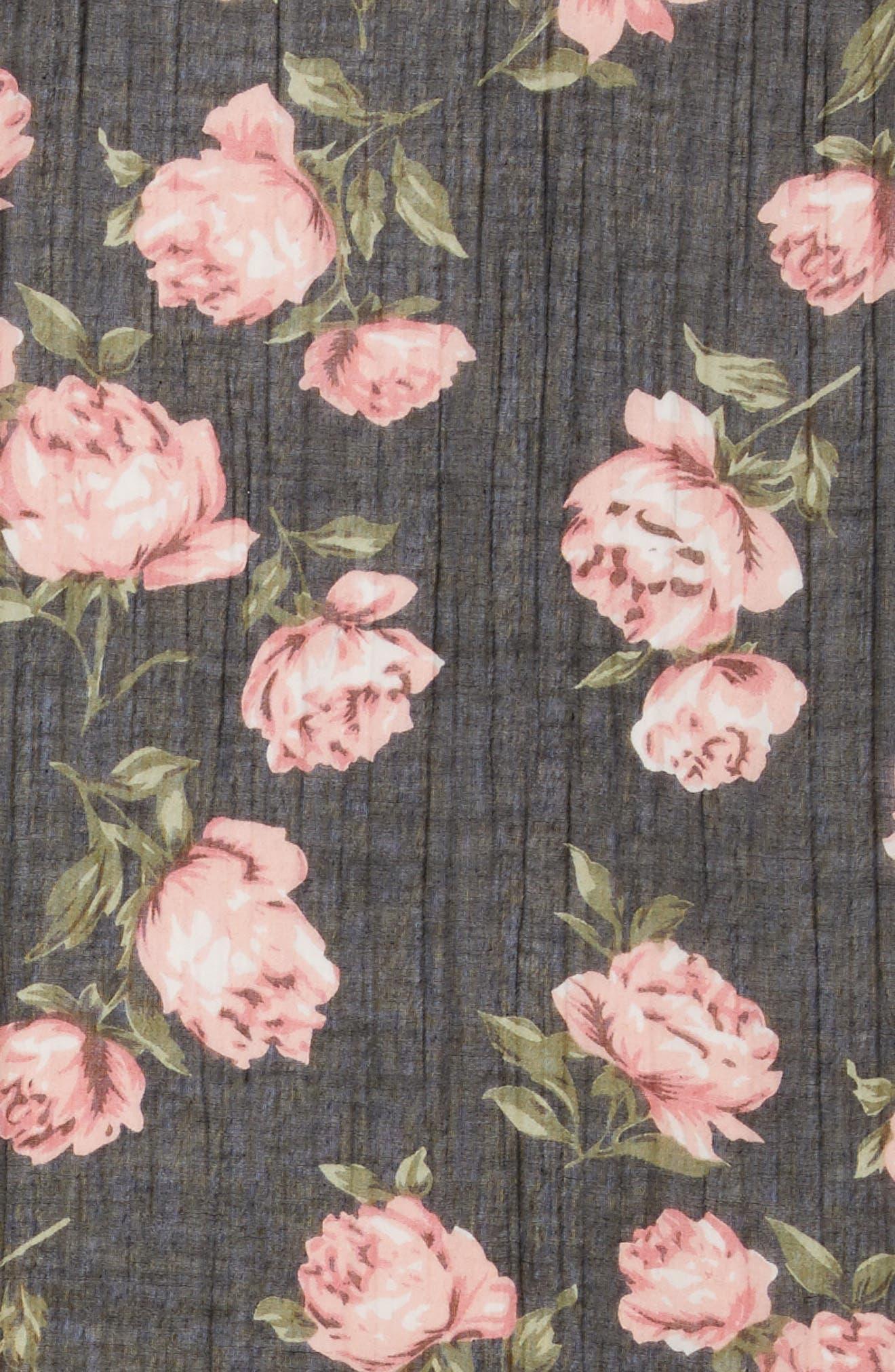 Floral Print Scarf,                             Alternate thumbnail 4, color,                             001