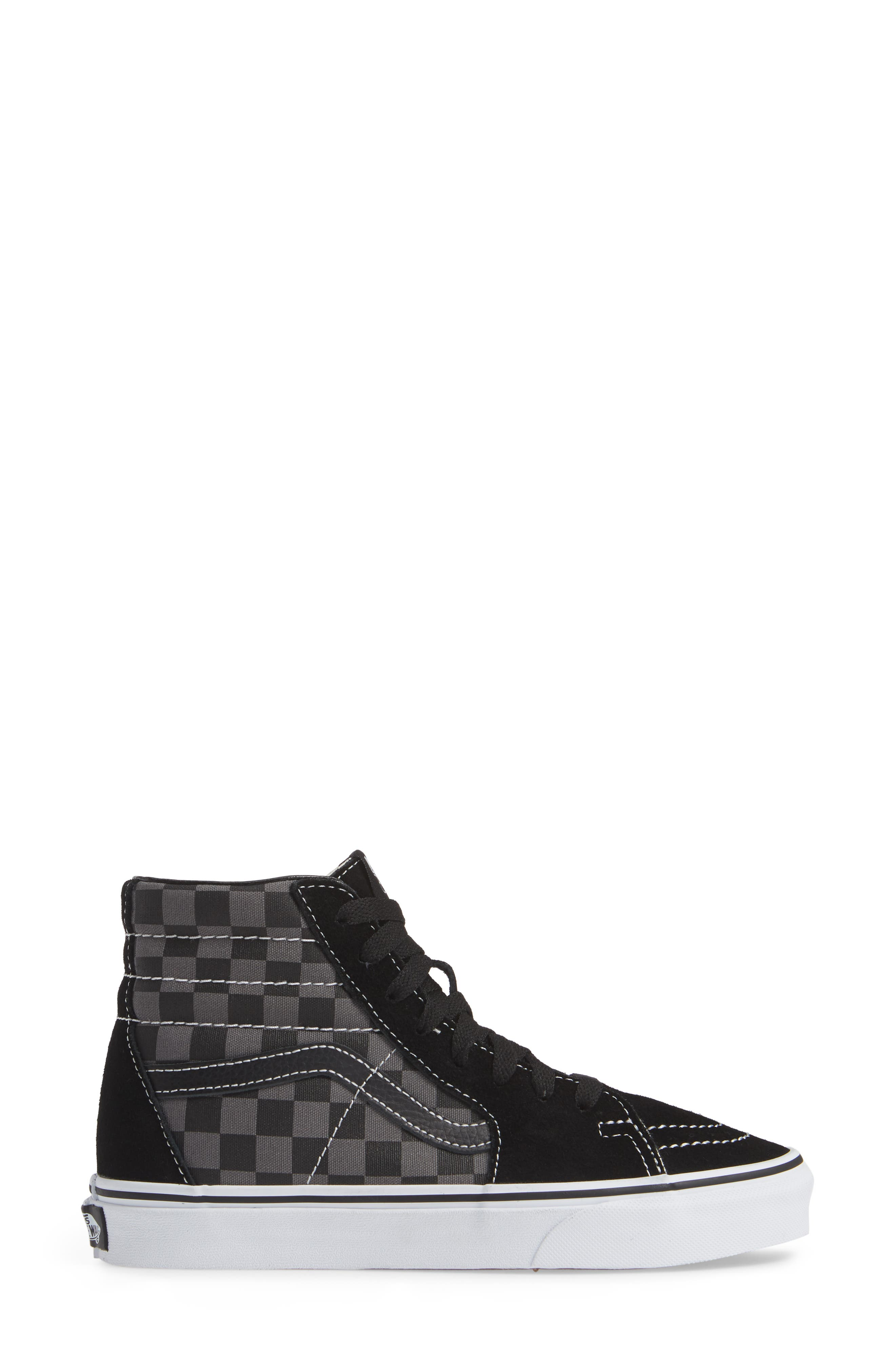 Sk8-Hi Checker Sneaker,                             Alternate thumbnail 3, color,                             BLACK/ PEWTER CHECKERBOARD