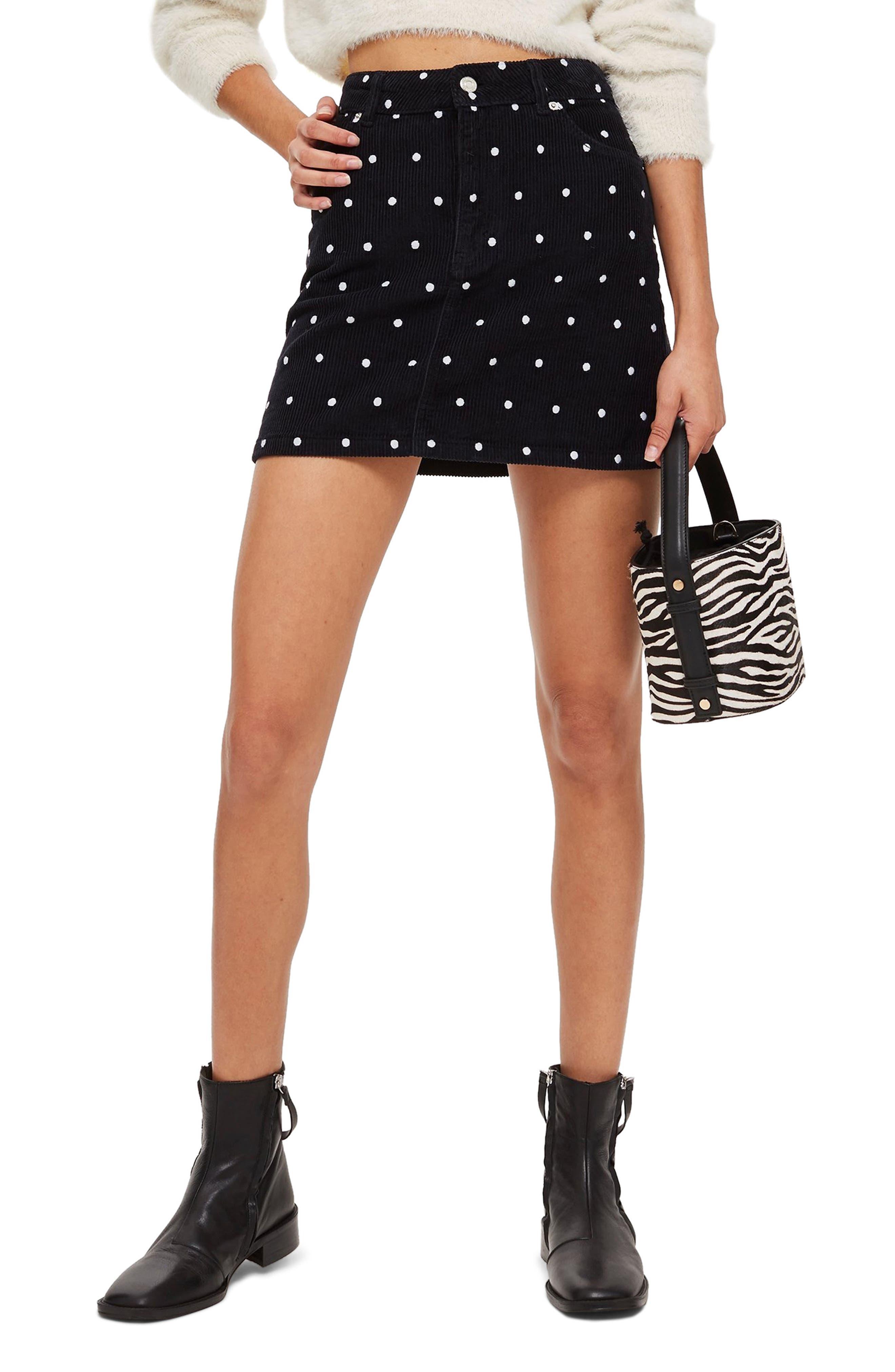 Spot Print Corduroy Skirt,                         Main,                         color, BLACK MULTI