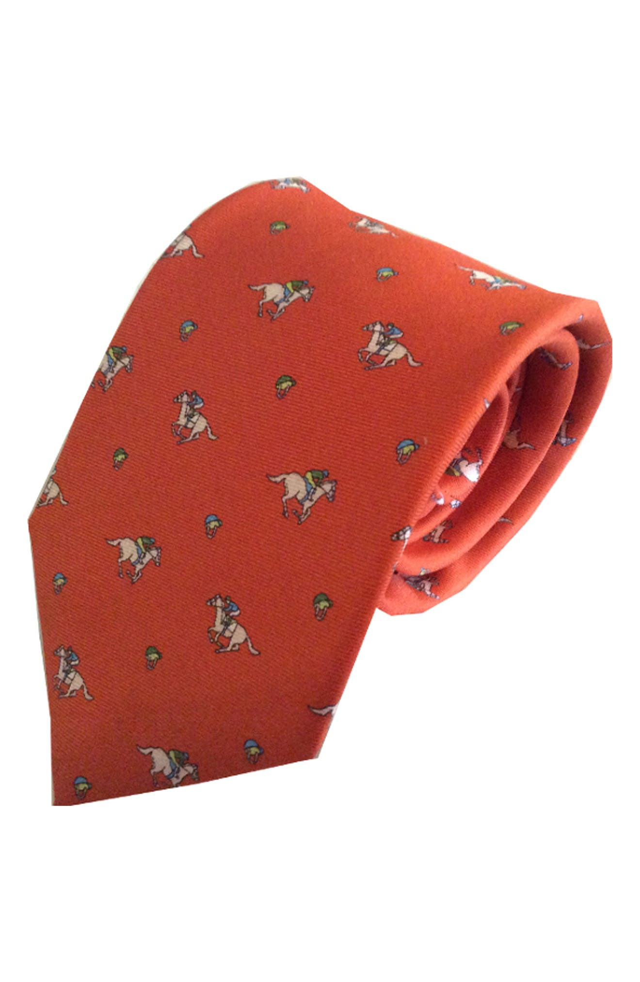 Riding Derby Silk Tie,                         Main,                         color, ORANGE
