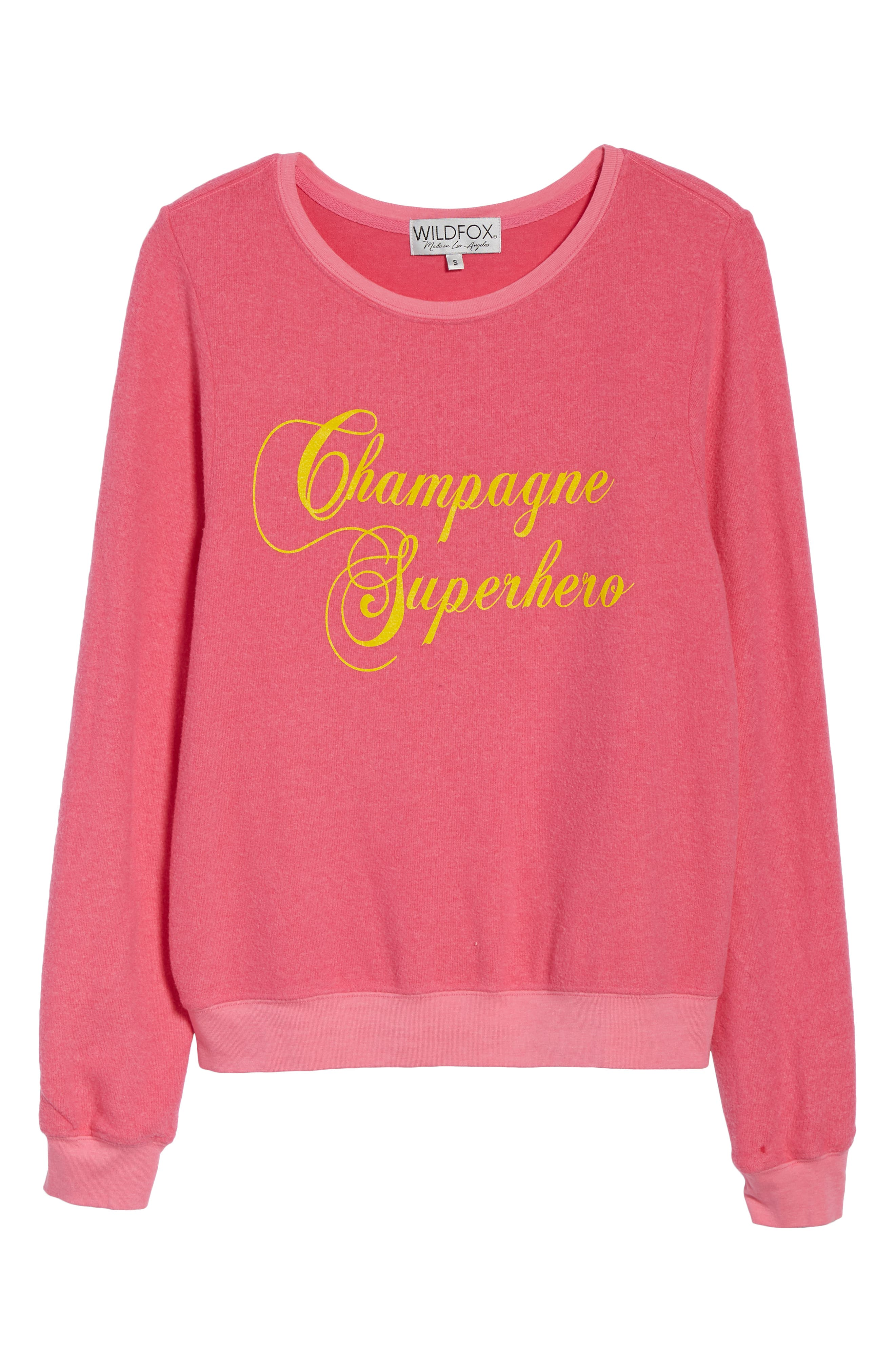 WILDFOX,                             Baggy Beach Jumper - Champagne Superhero Pullover,                             Alternate thumbnail 6, color,                             650