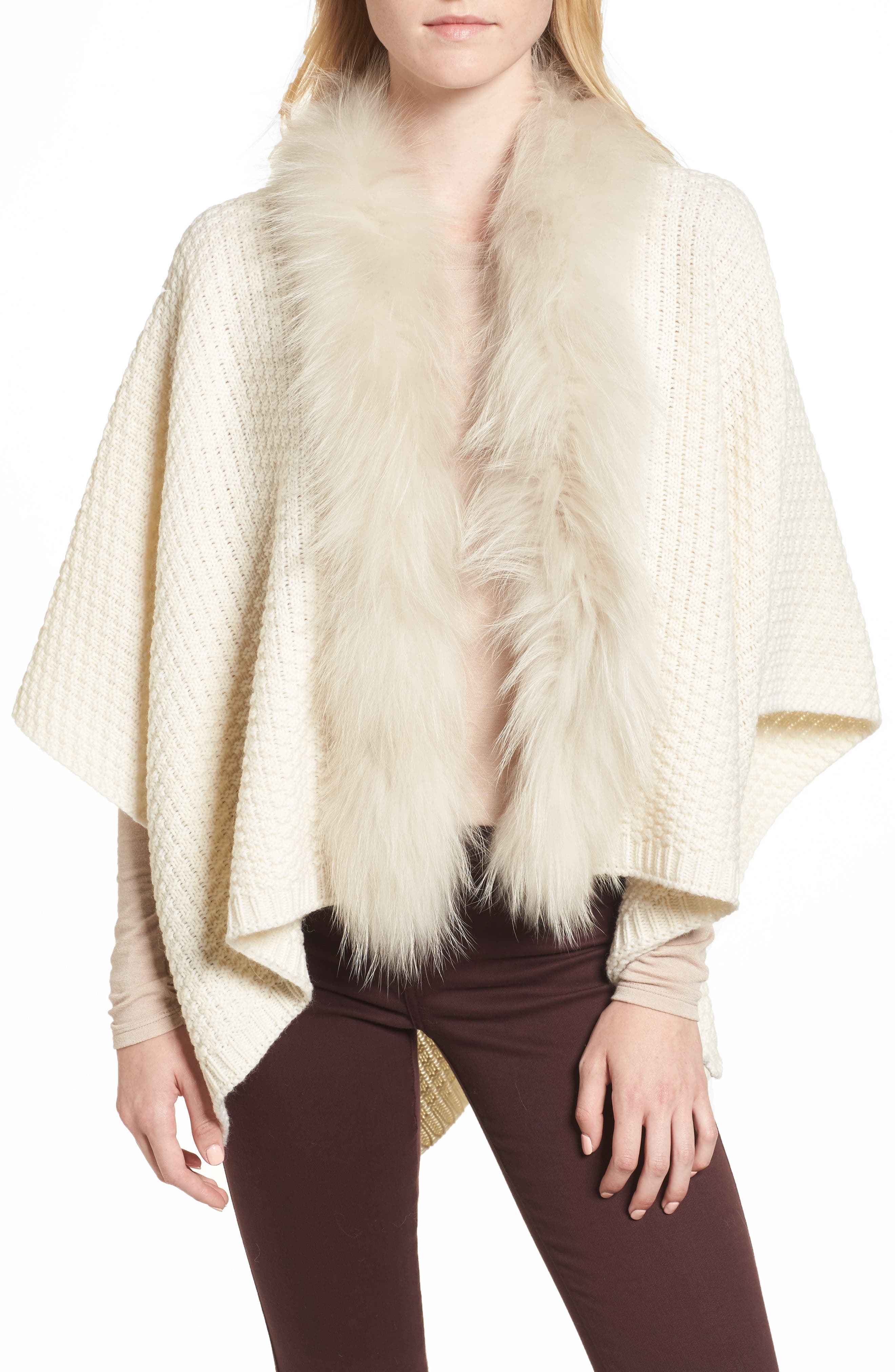 Genuine Raccoon Fur Trim Wrap,                             Main thumbnail 1, color,                             102