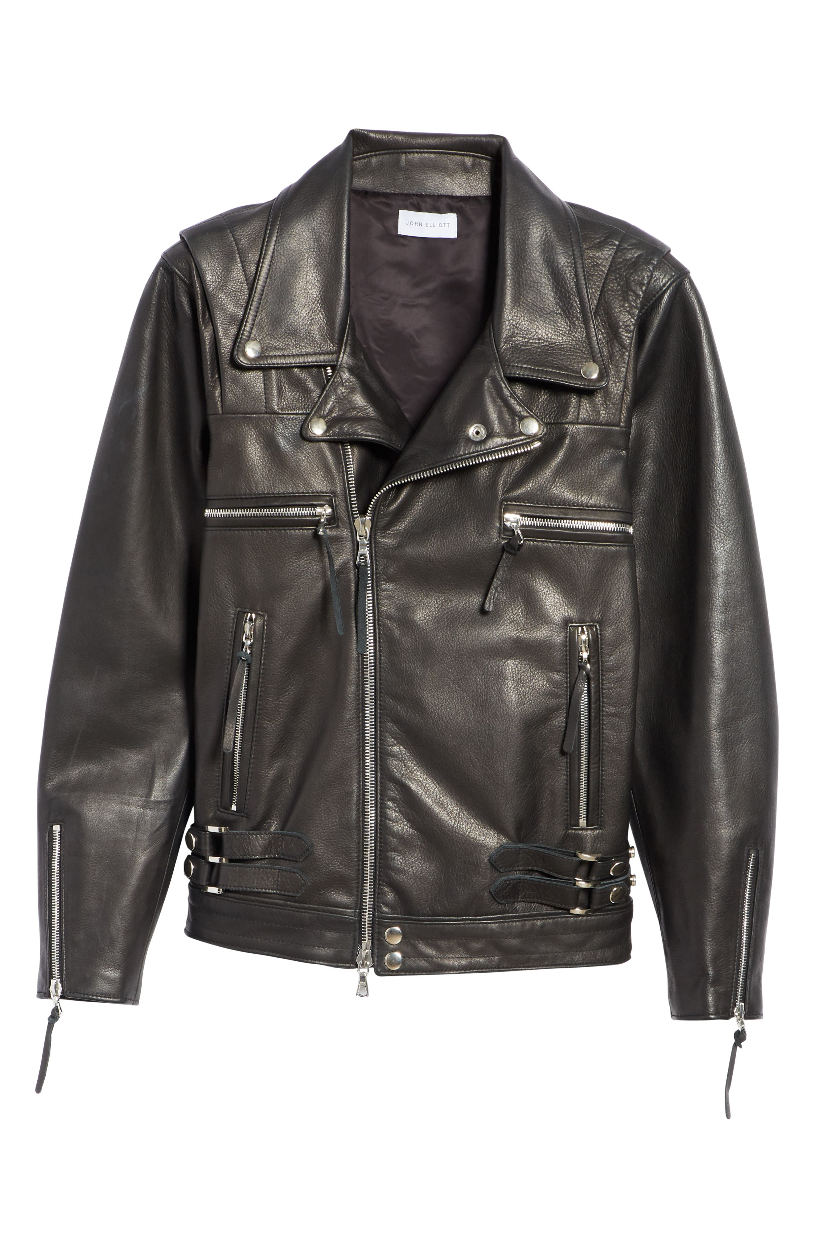 Riders Leather Jacket,                             Alternate thumbnail 5, color,                             BLACK