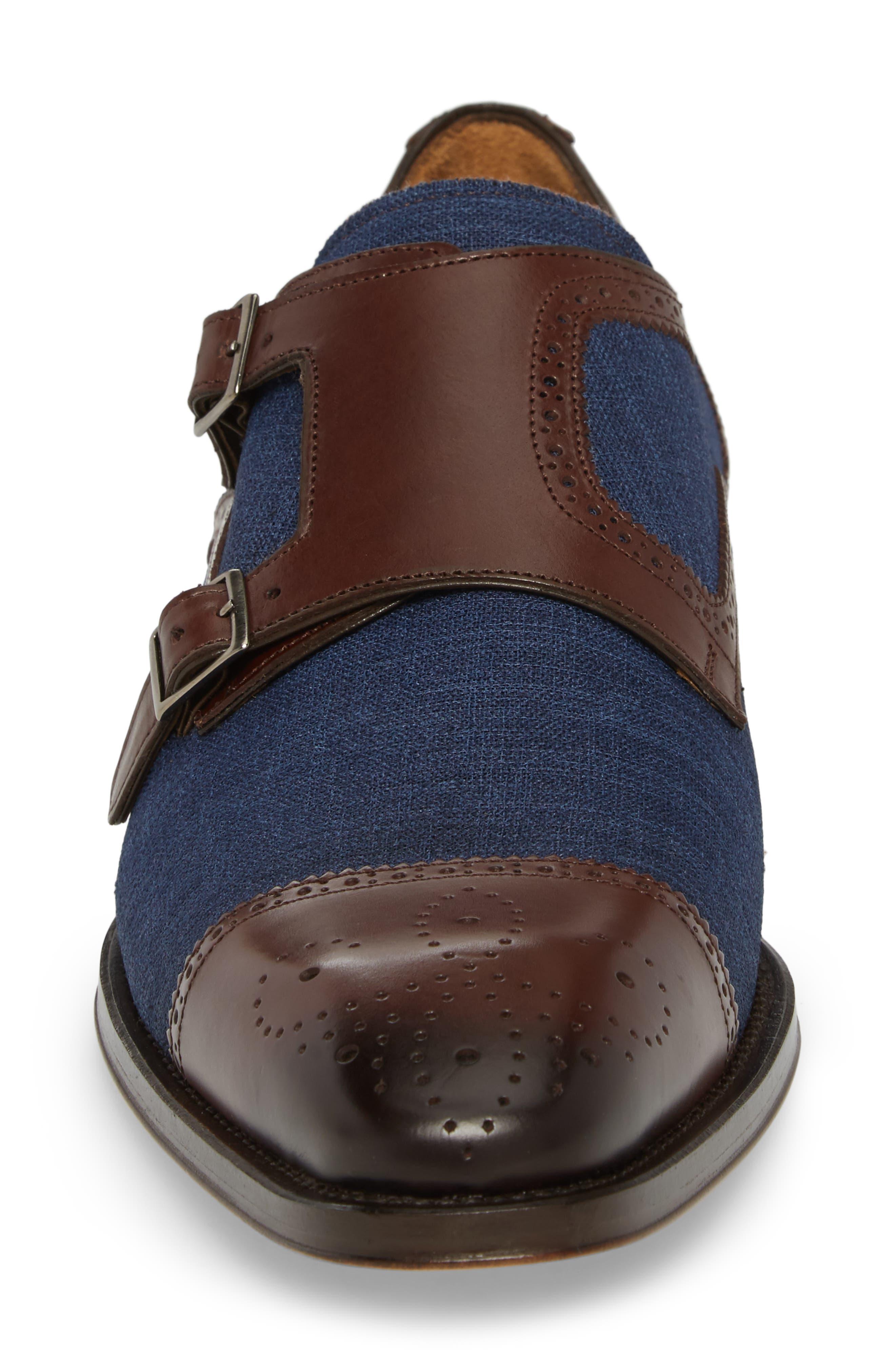 Cupido Double Monk Strap Cap Toe Shoe,                             Alternate thumbnail 4, color,                             BROWN/ BLUE LEATHER