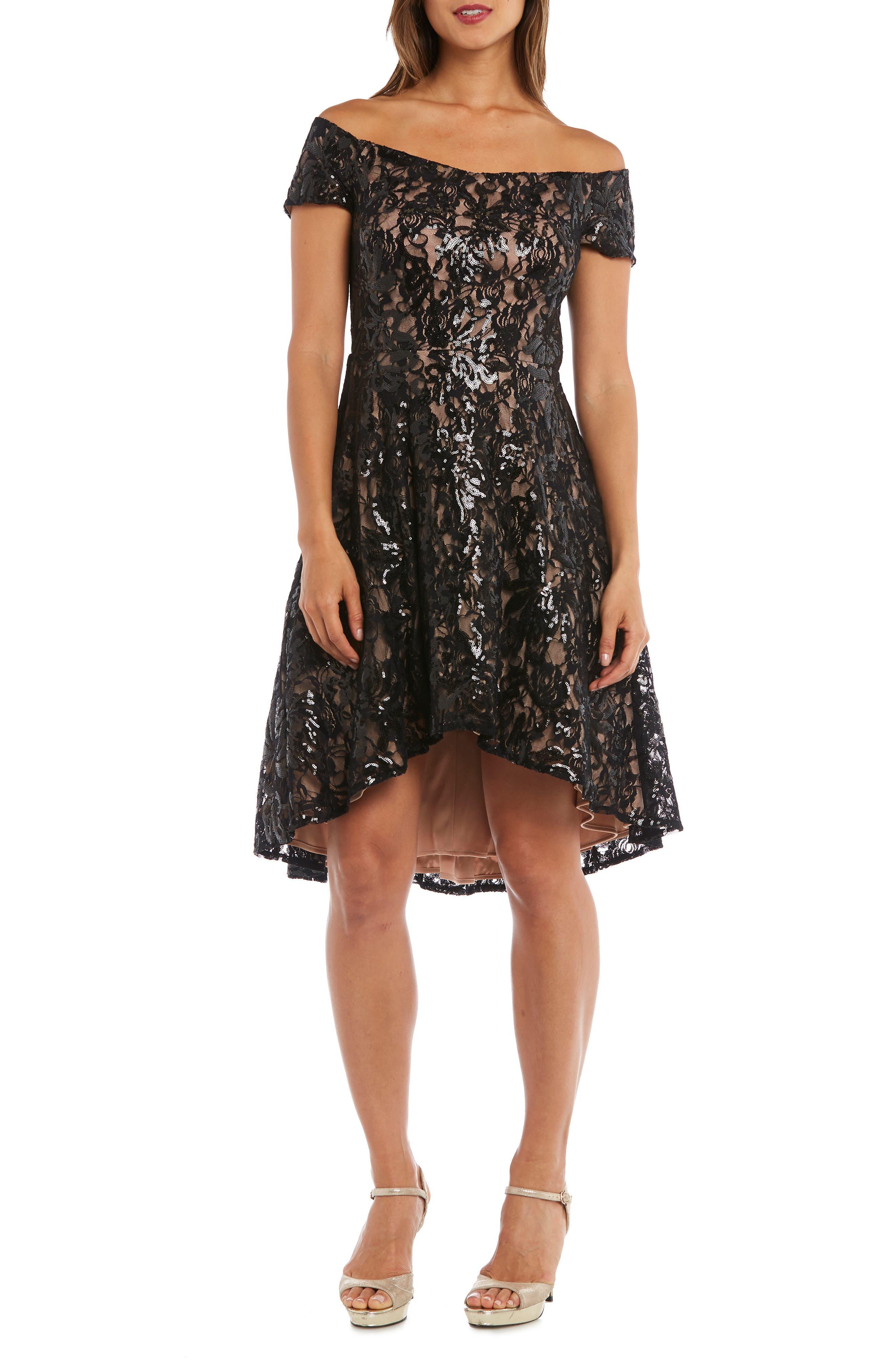 Morgan & Co. Sequin & Lace Off The Shoulder High/low Dress, Black
