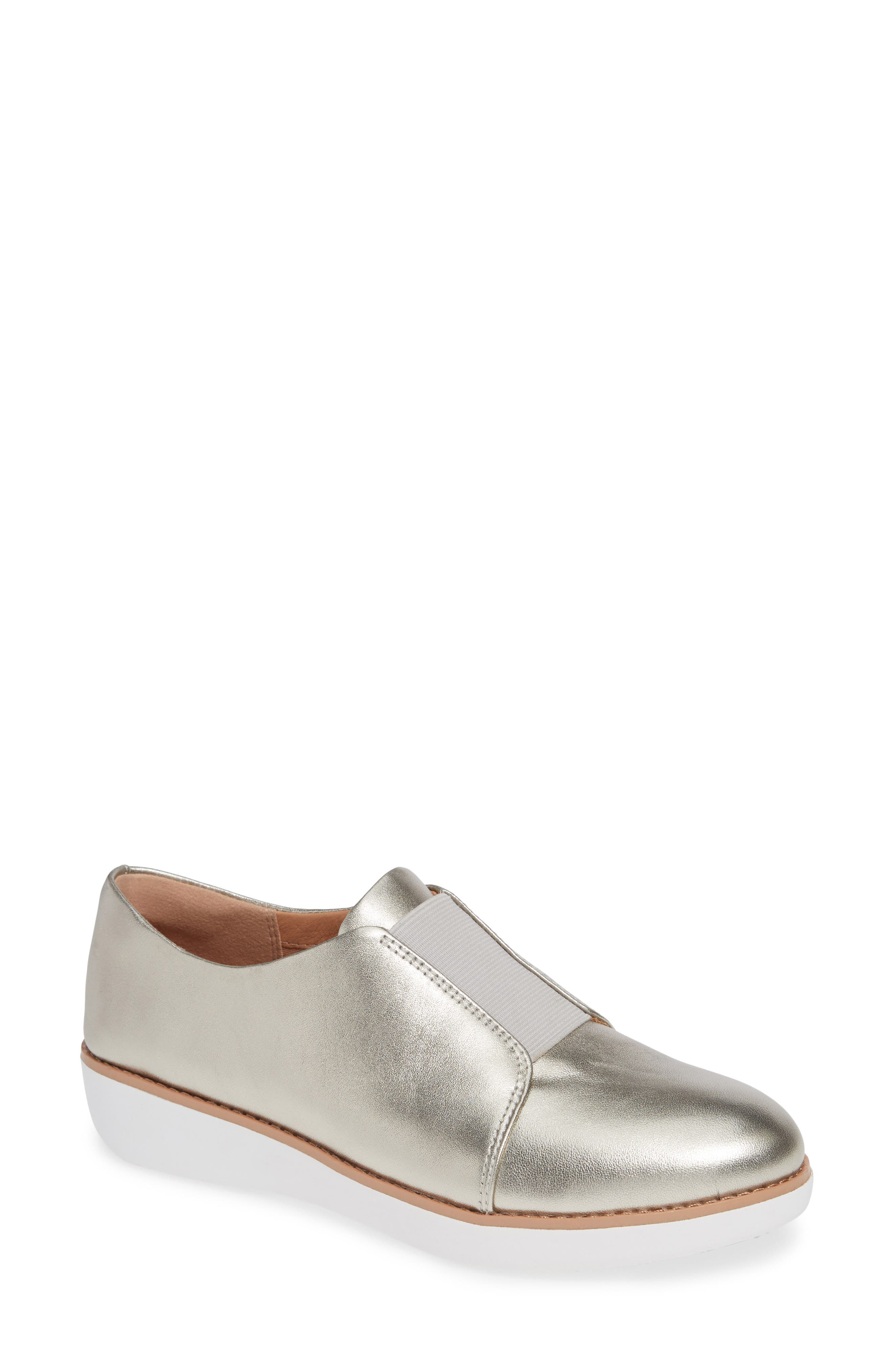 Laceless Derby,                             Main thumbnail 1, color,                             SILVER LEATHER