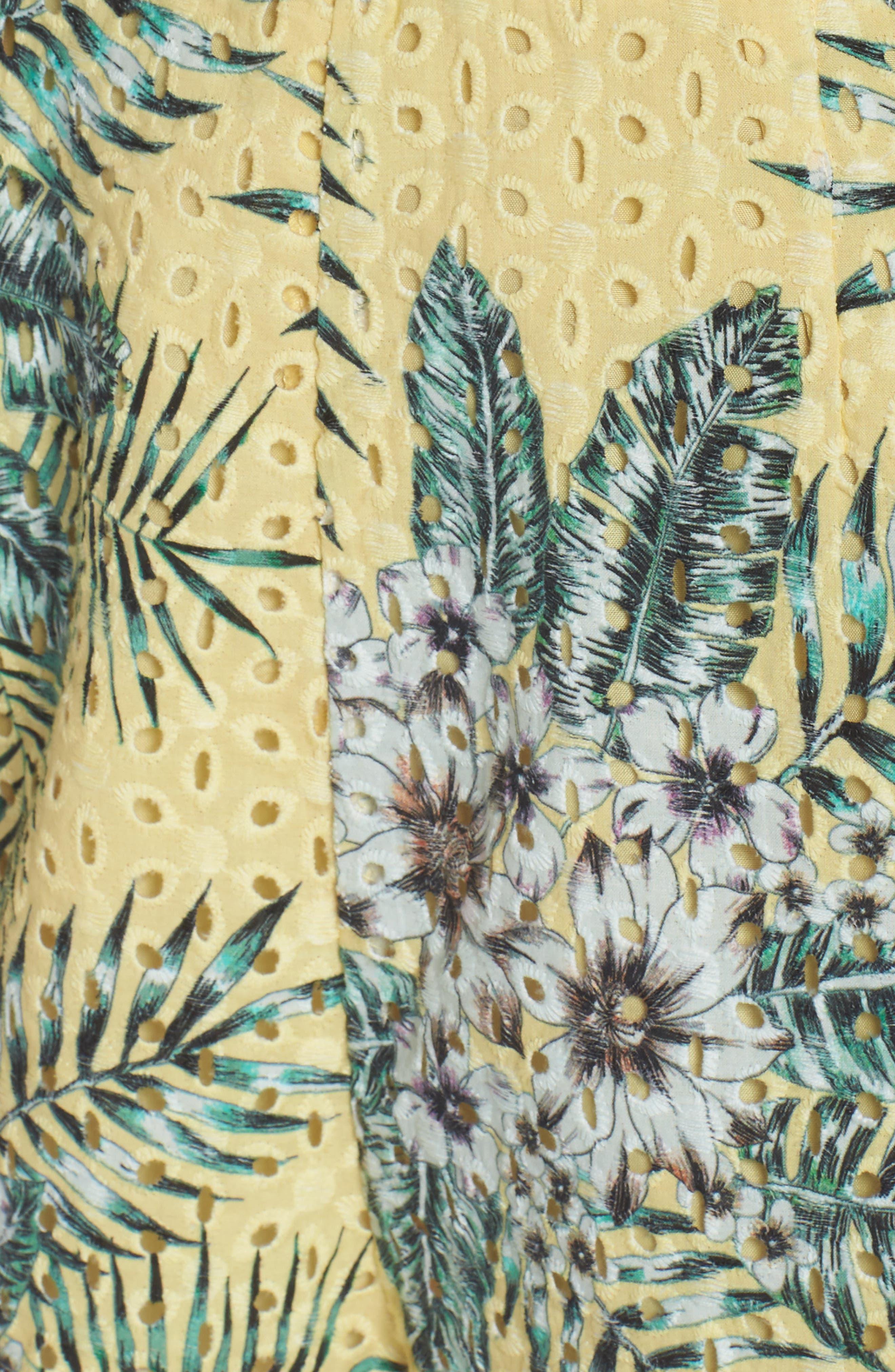 Schiffer Floral Palms Romper,                             Alternate thumbnail 5, color,                             720
