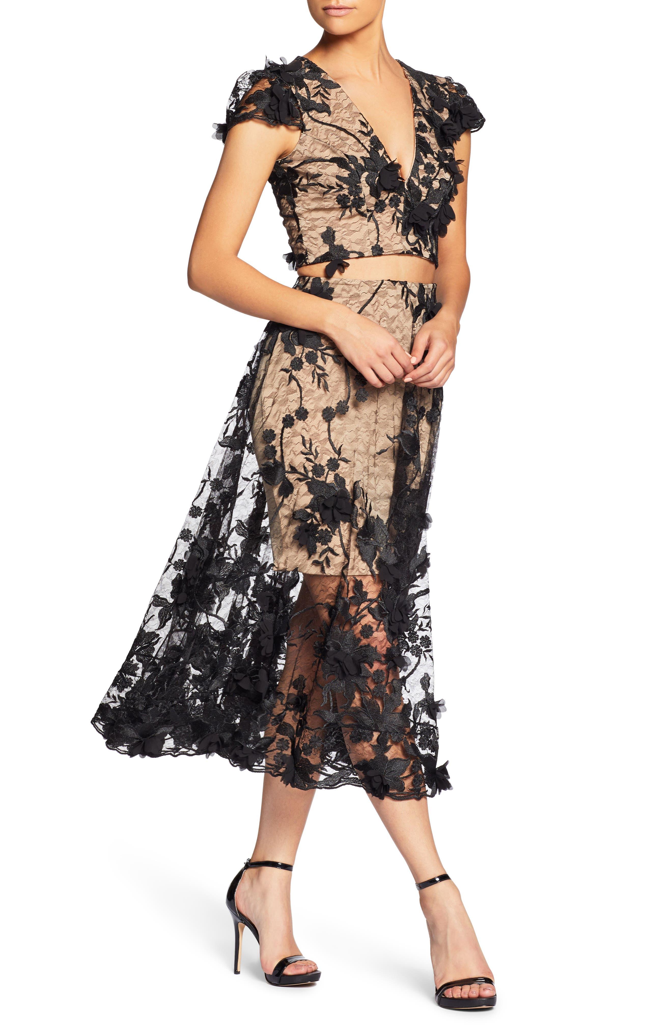 Juliana 3D Lace Two-Piece Dress,                             Alternate thumbnail 4, color,                             014
