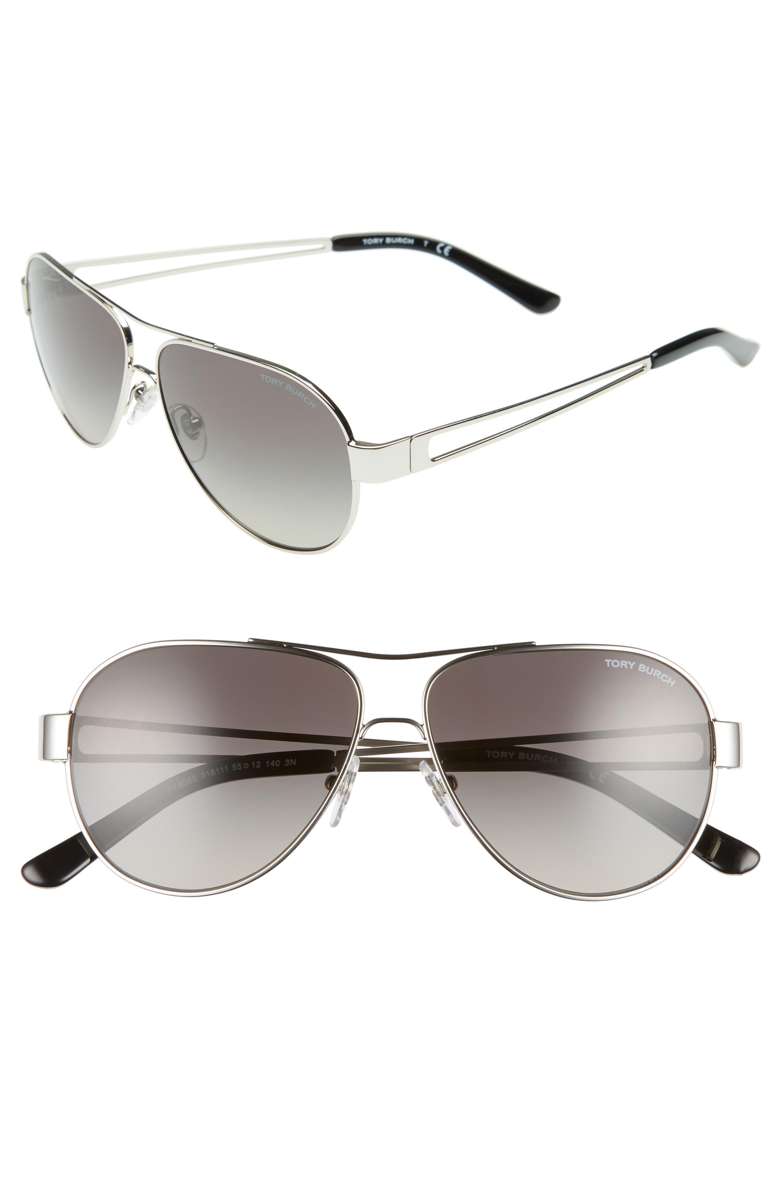 TORY BURCH 55mm Polarized Aviator Sunglasses, Main, color, SILVER/ BLACK GRADIENT
