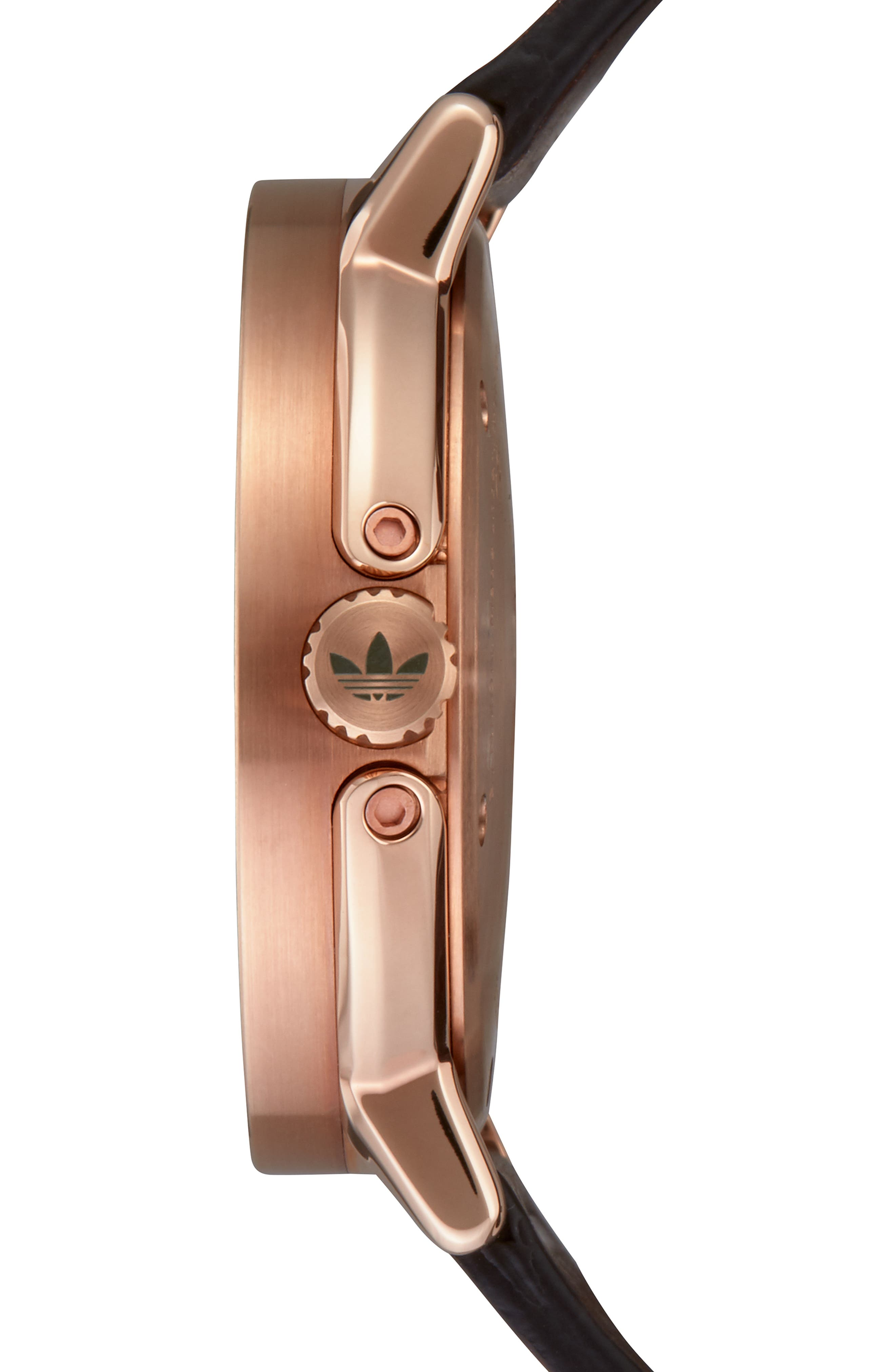 District Leather Strap Watch, 40mm,                             Alternate thumbnail 3, color,                             BROWN/ OLIVE/ ROSE GOLD