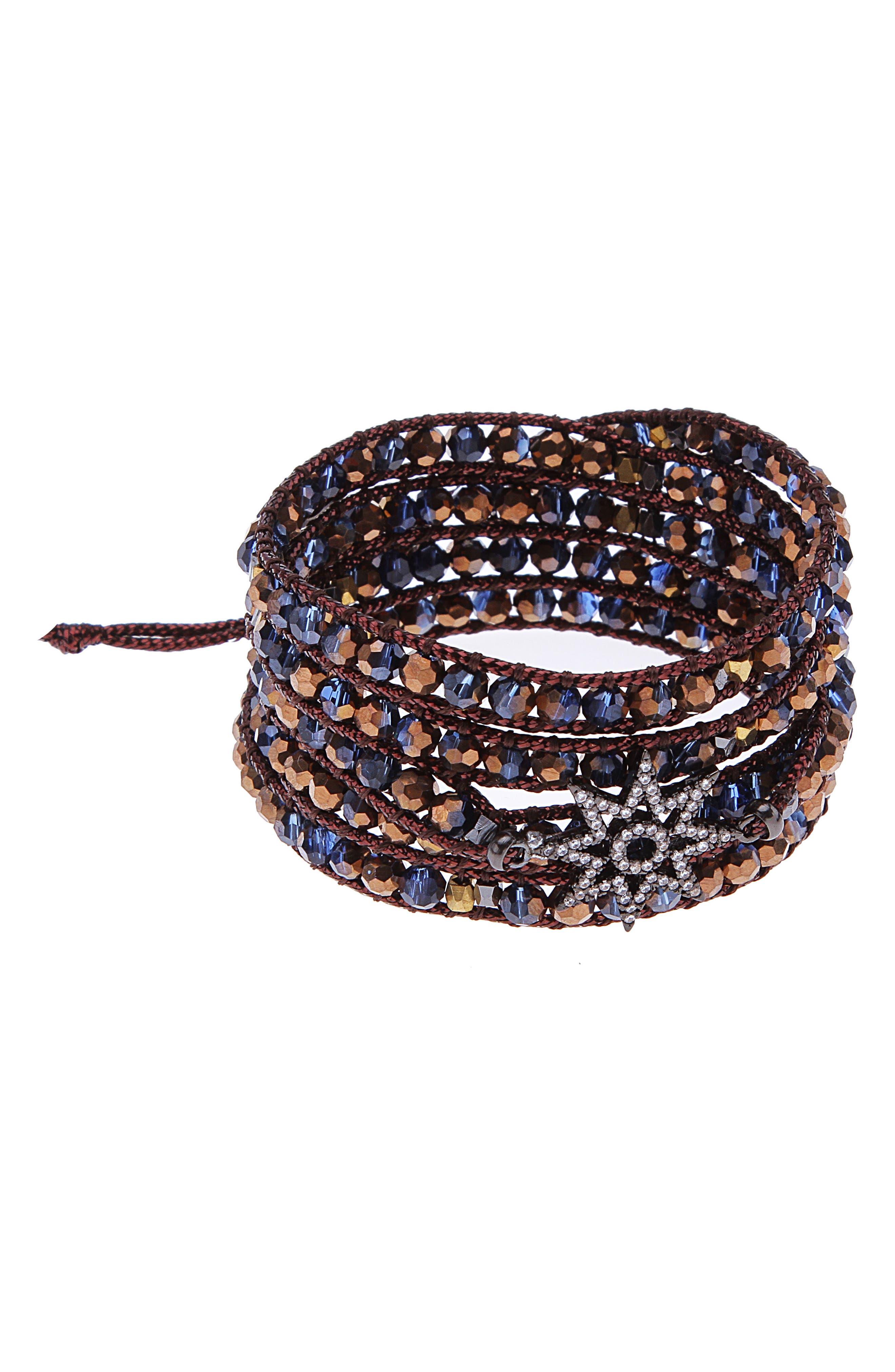 Crystal Beaded Wrap Bracelet,                         Main,                         color,