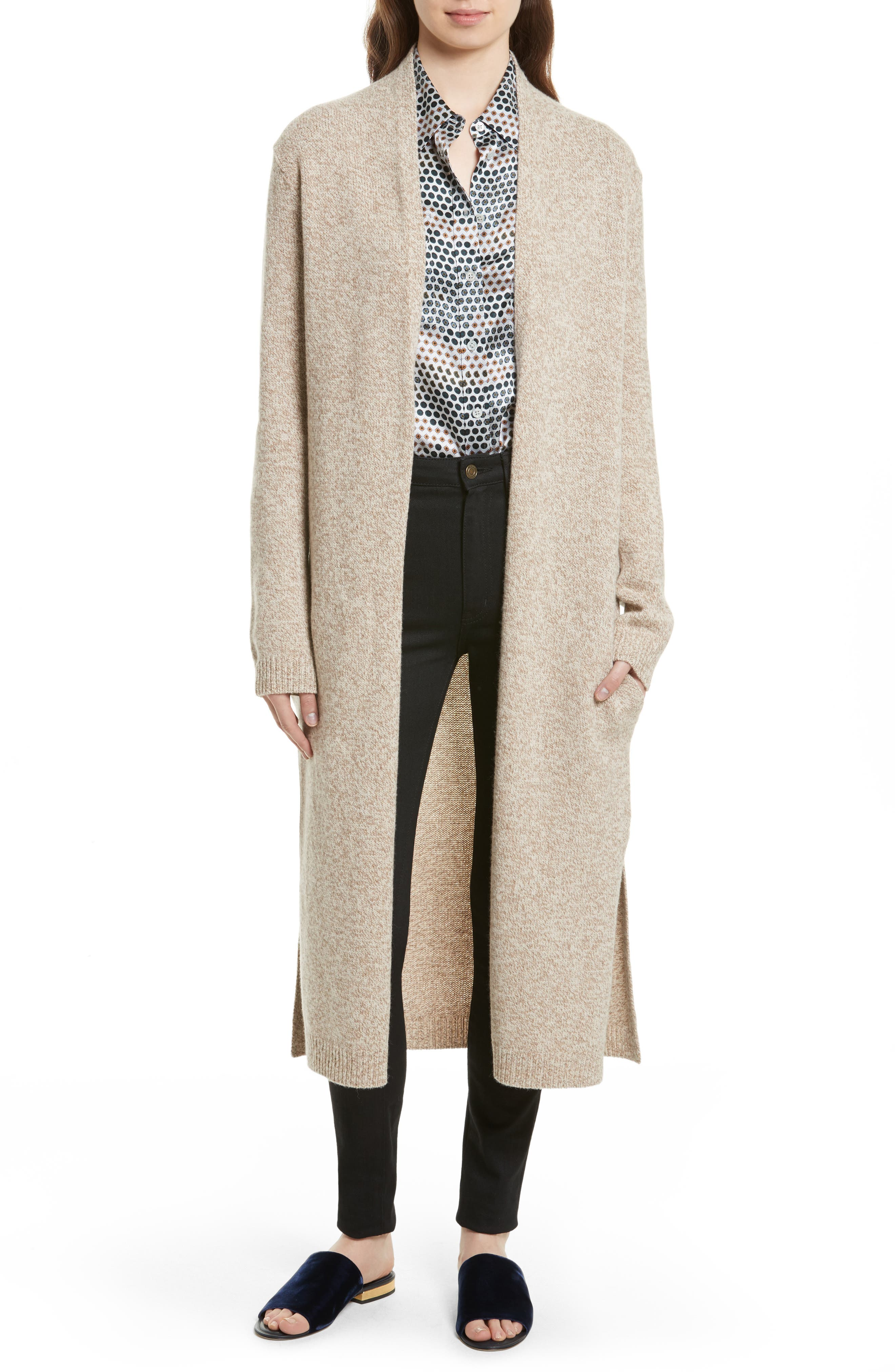 Thoren Long Wool Cardigan,                             Main thumbnail 1, color,                             285