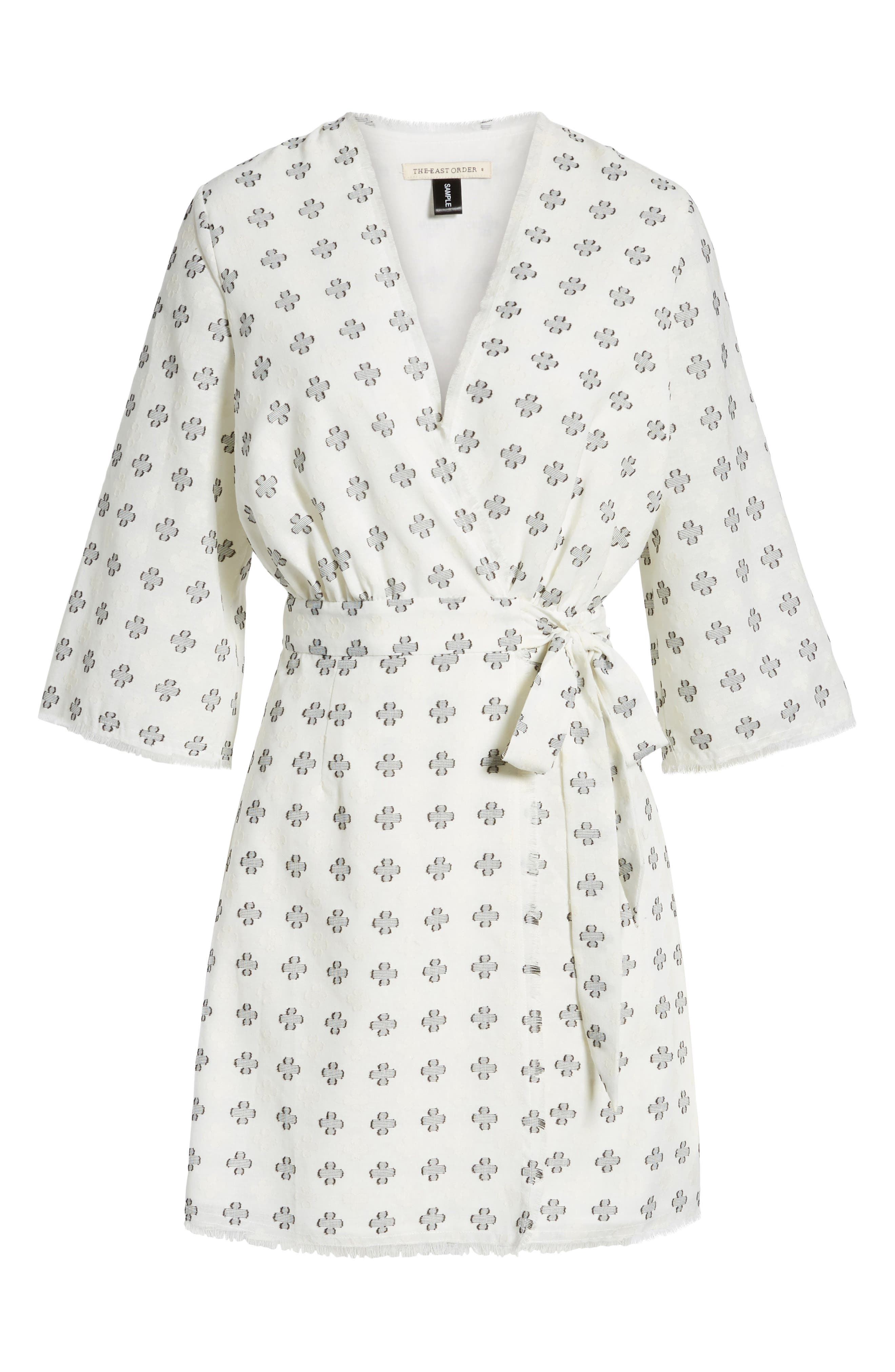 Ruth Wrap Minidress,                             Alternate thumbnail 7, color,                             BLACK AND WHITE CLOVER