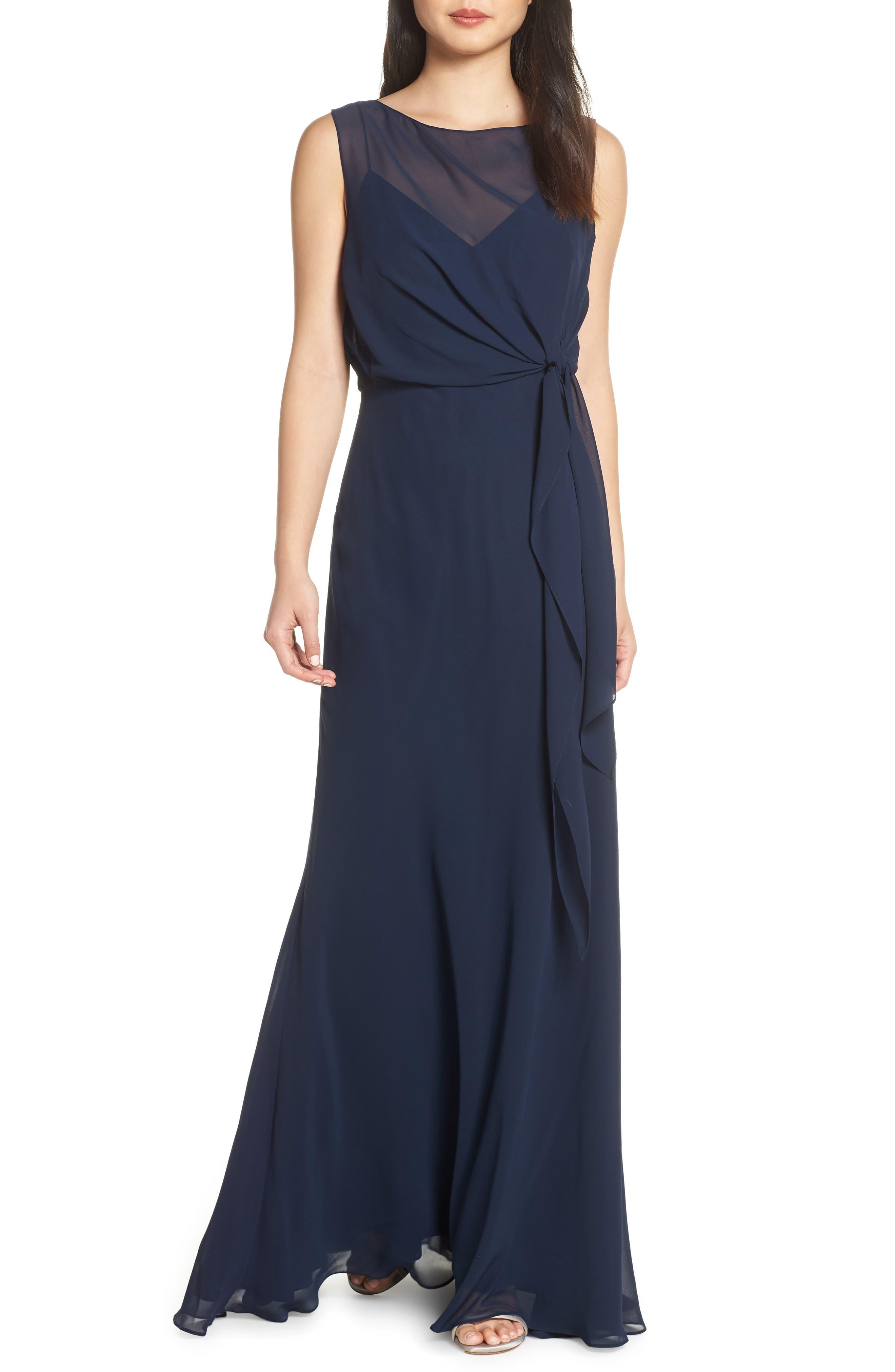 Jenny Yoo Chiffon Overlay Evening Dress, Blue