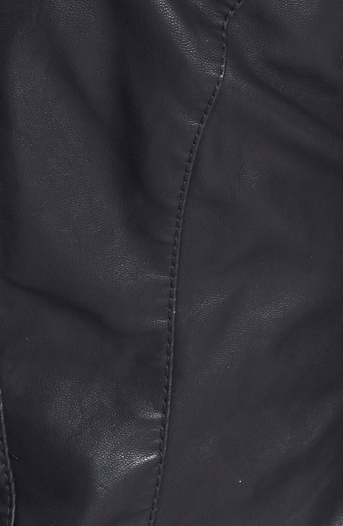 Faux Leather Jacket,                             Alternate thumbnail 9, color,                             BLACK