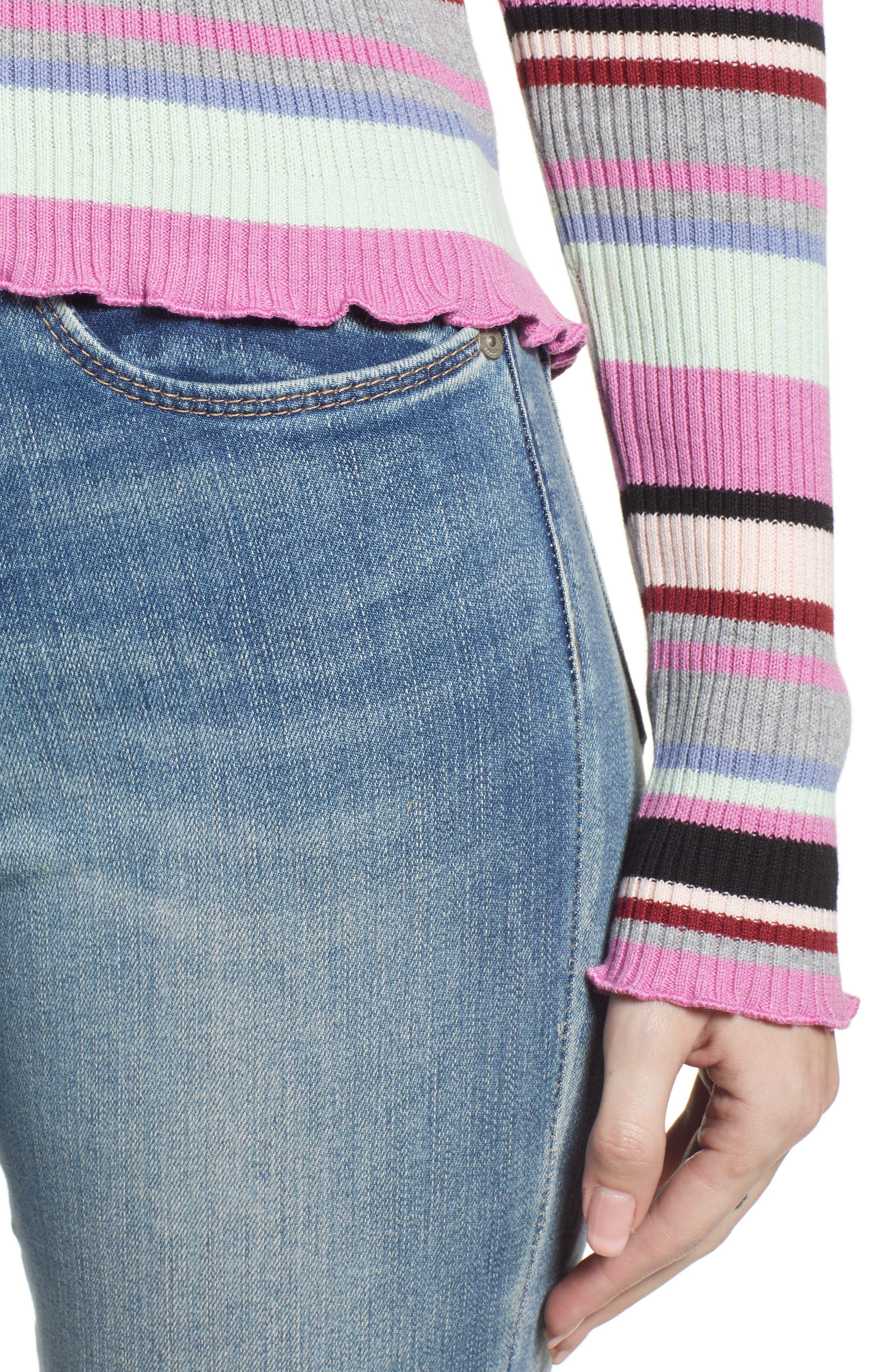Ribbed Lettuce Edge Stripe Sweater,                             Alternate thumbnail 4, color,                             PURPLE TAFFY KARA MULTI STRIPE