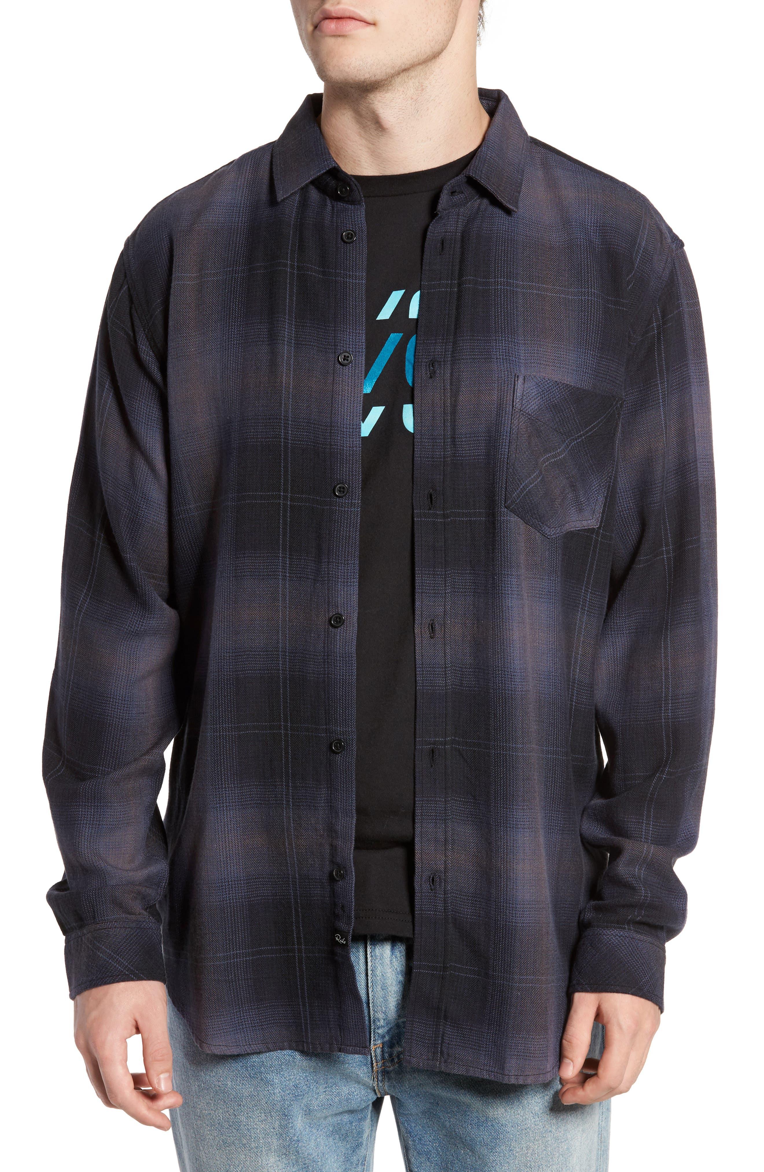 Lennox Sport Shirt,                         Main,                         color, CHARCOAL/ BLACK