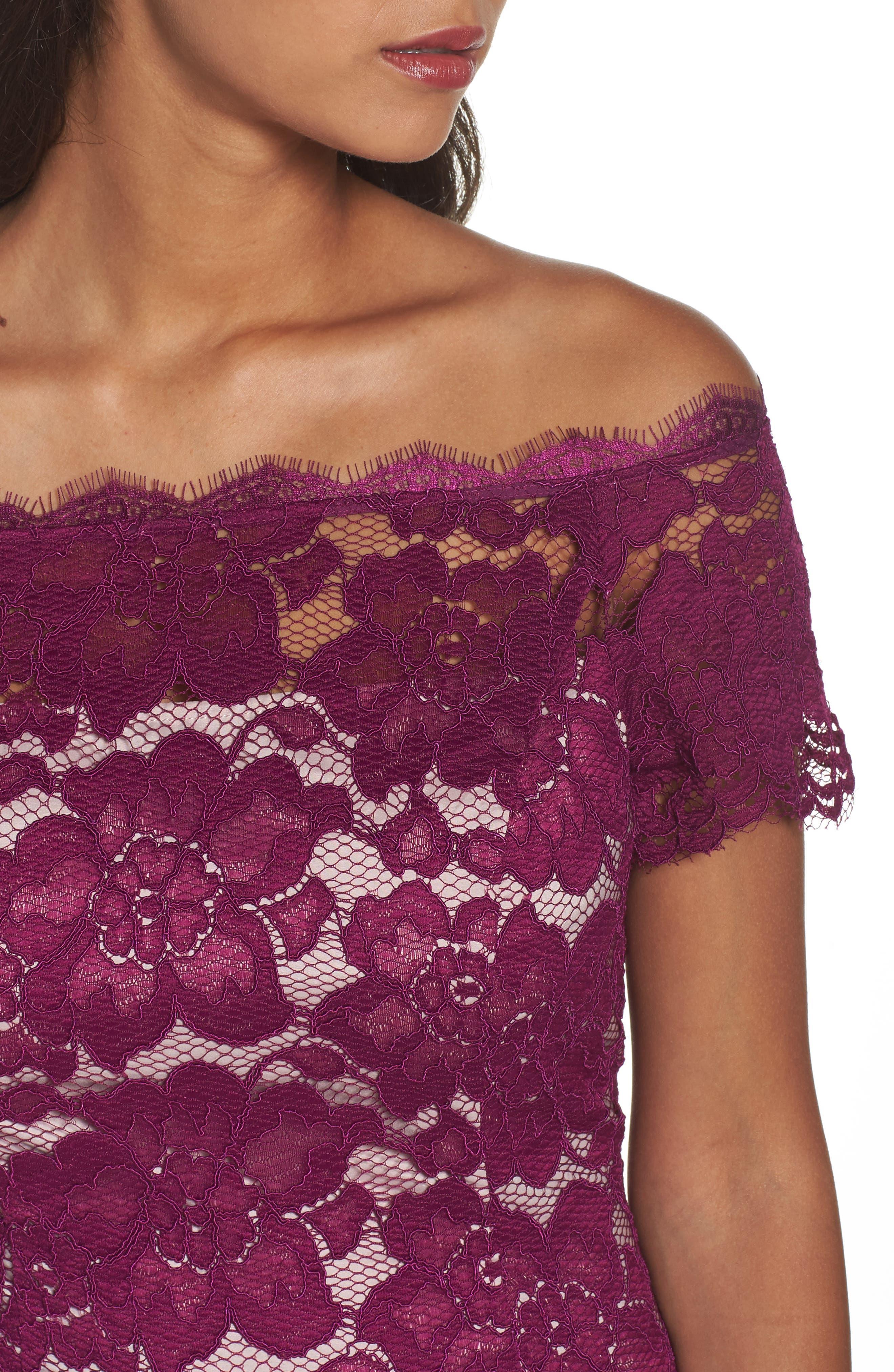 Off the Shoulder Lace Sheath Dress,                             Alternate thumbnail 22, color,