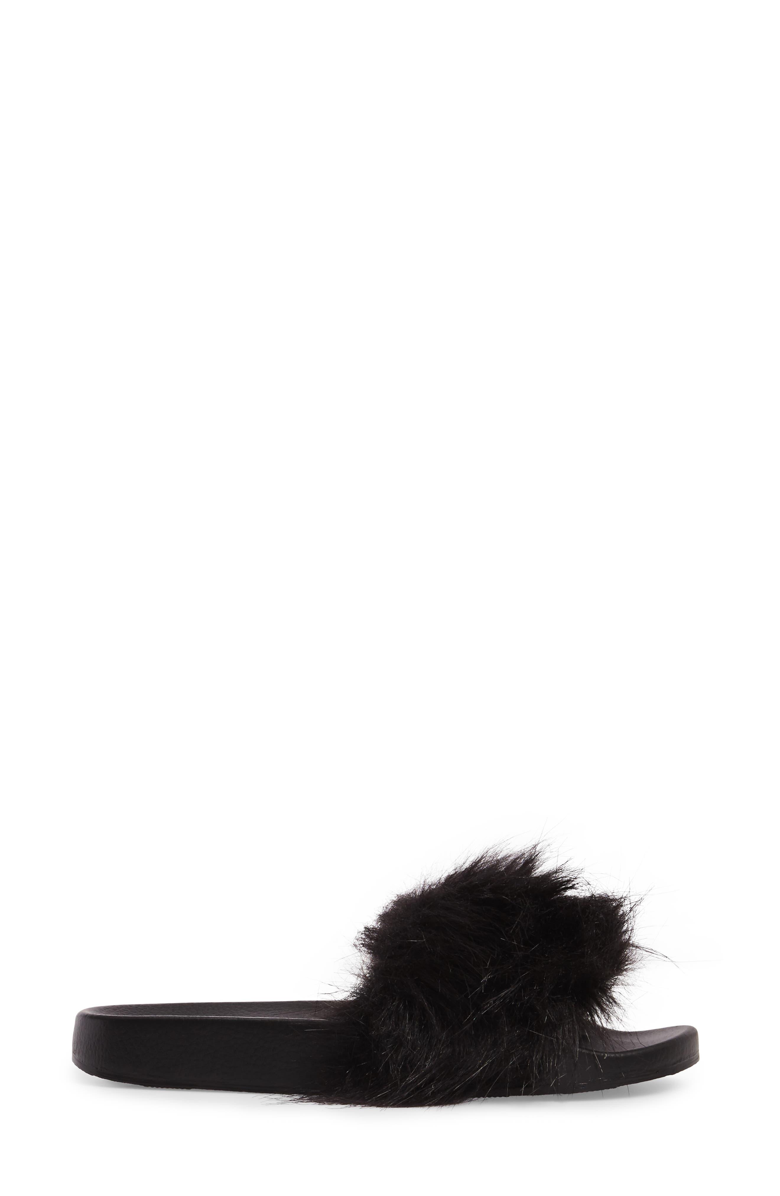 Sophie Faux Fur Slide Sandal,                             Alternate thumbnail 3, color,                             001