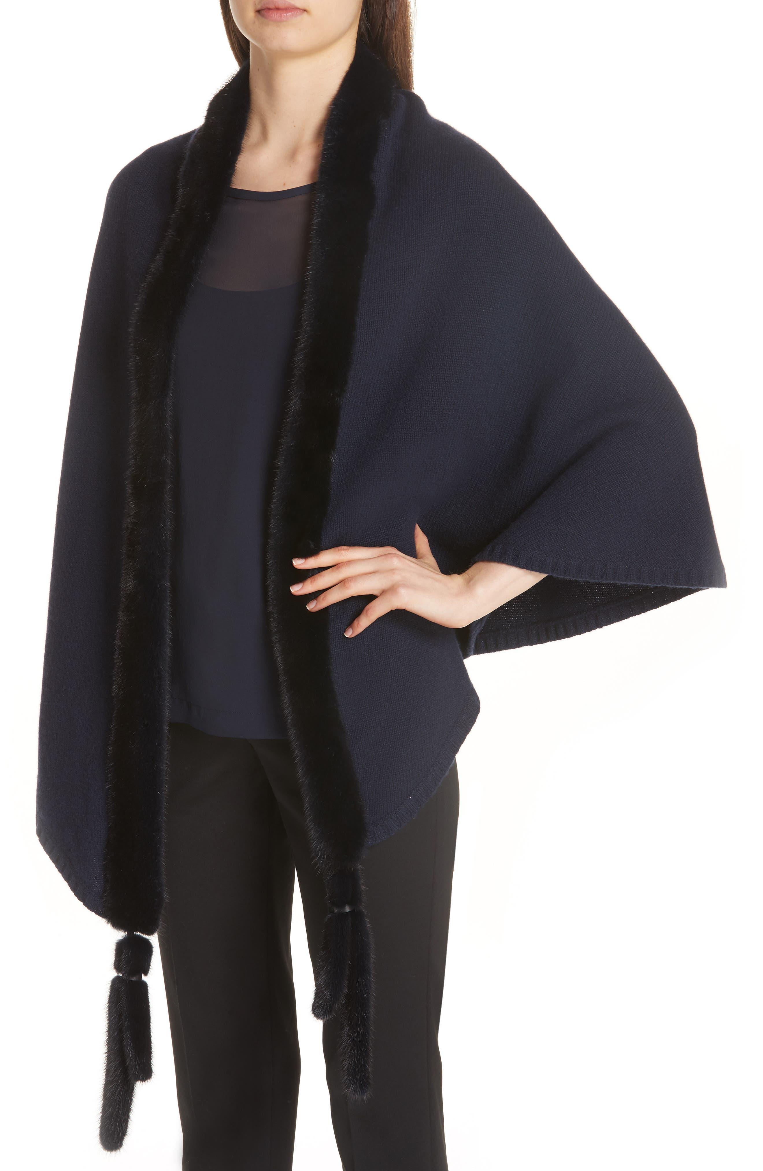 Cashmere & Genuine Mink Fur Wrap,                             Alternate thumbnail 4, color,                             ULTRAMARINE NAVY