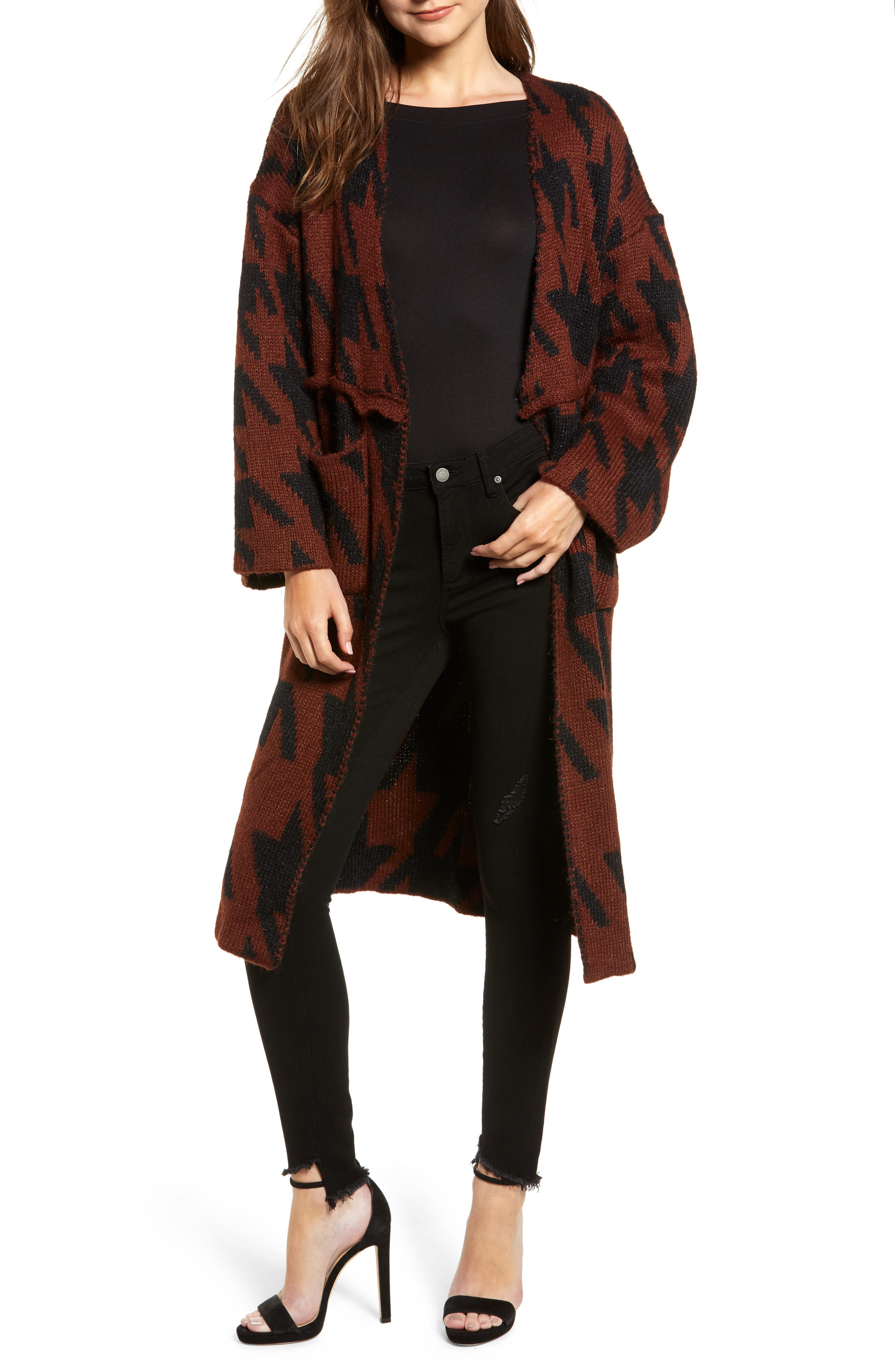 Houndstooth Belted Cardigan,                         Main,                         color, RUST/ BLACK