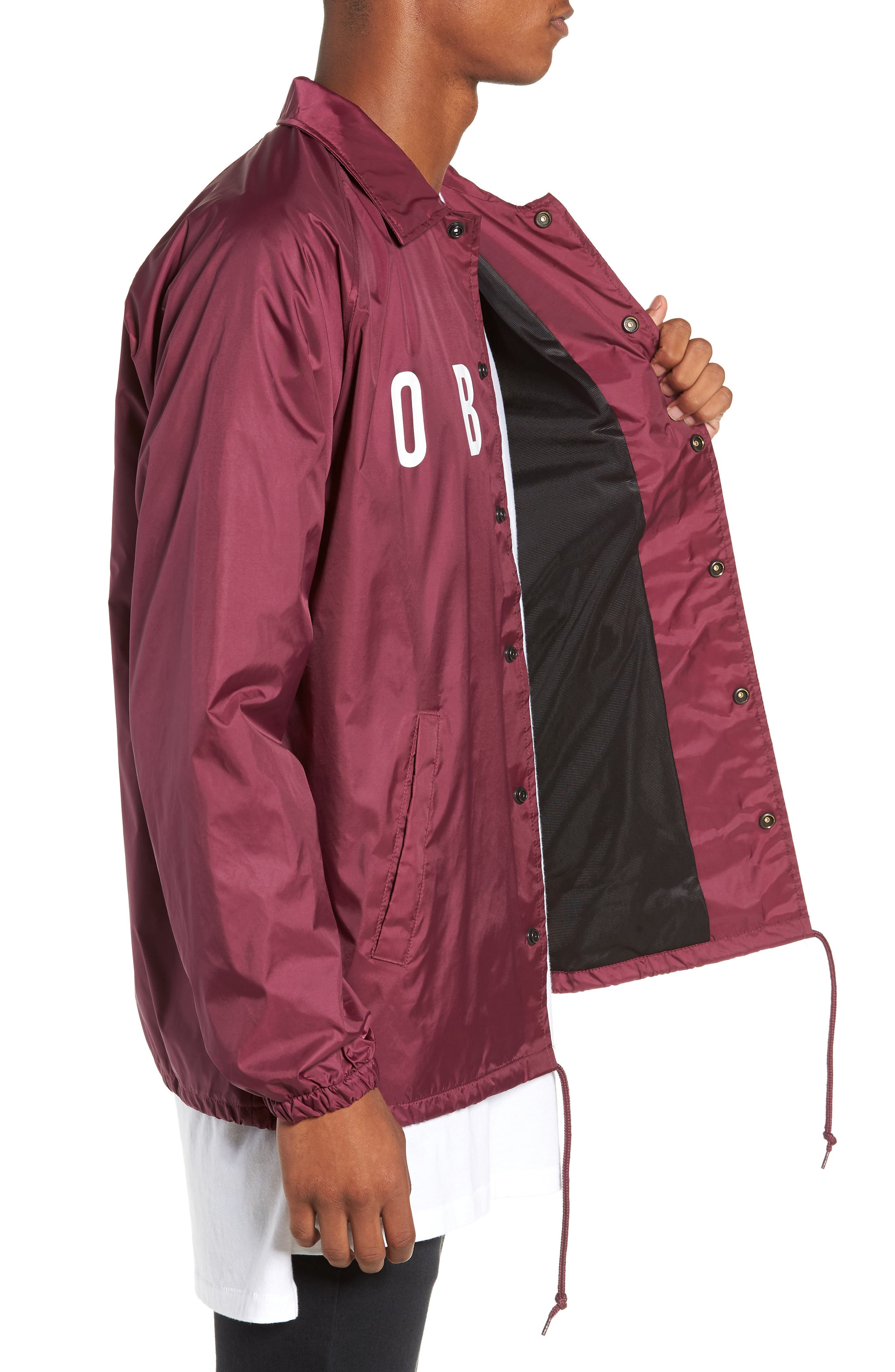 Anyway Snap Front Hooded Coach's Jacket,                             Alternate thumbnail 3, color,                             RASPBERRY