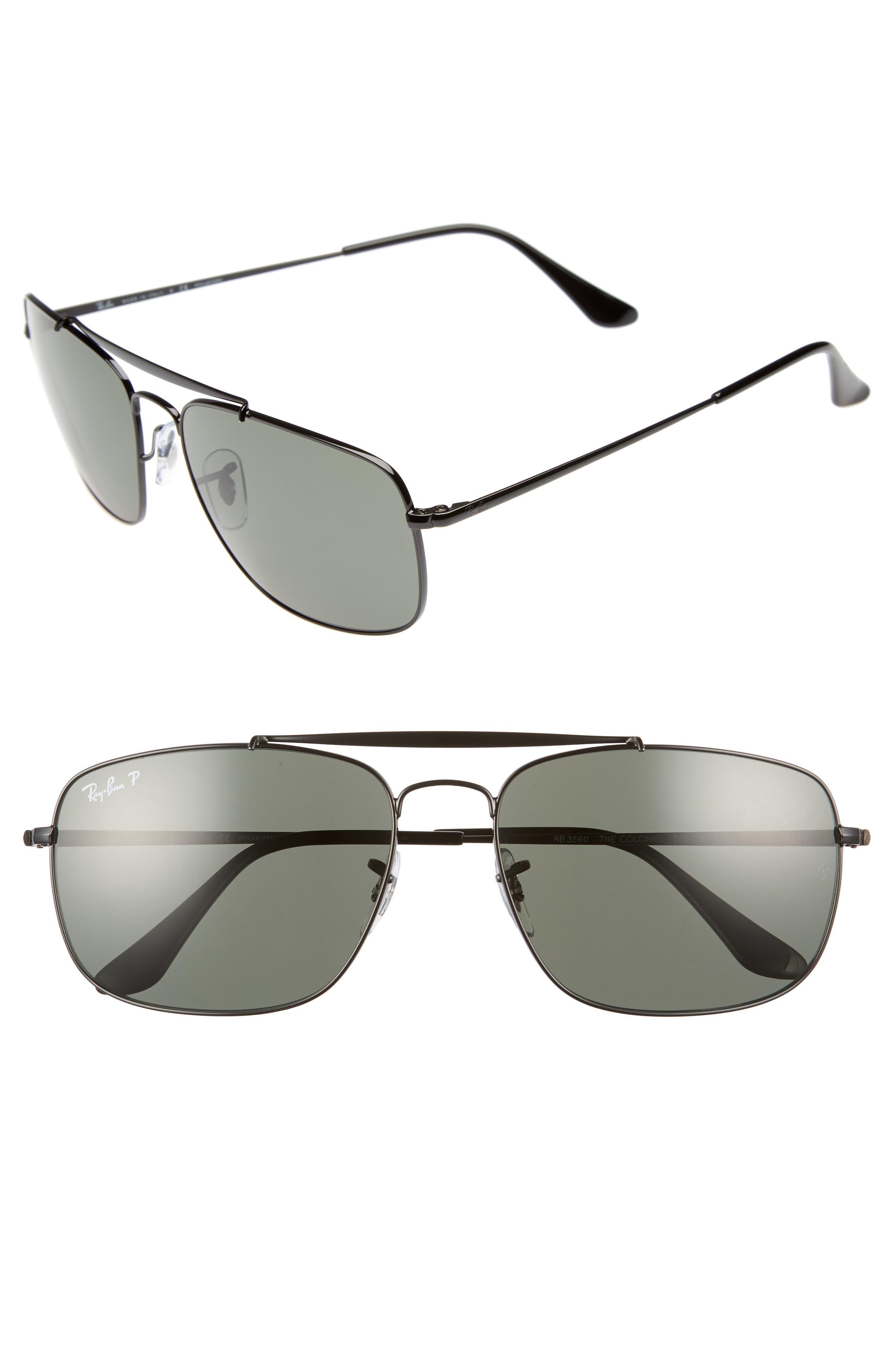 Ray-Ban The Colonel Square 61Mm Polarized Sunglasses - Black