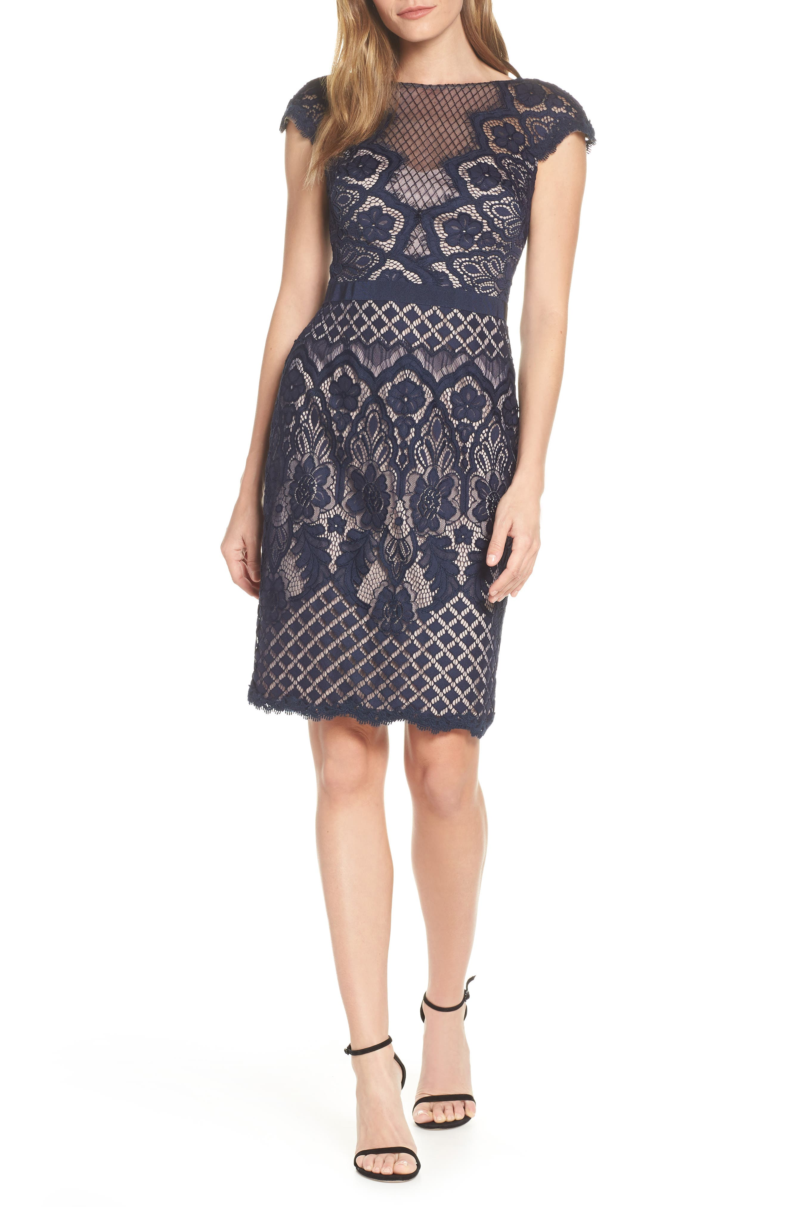 Tadashi Shoji Lace Sheath Dress, Blue