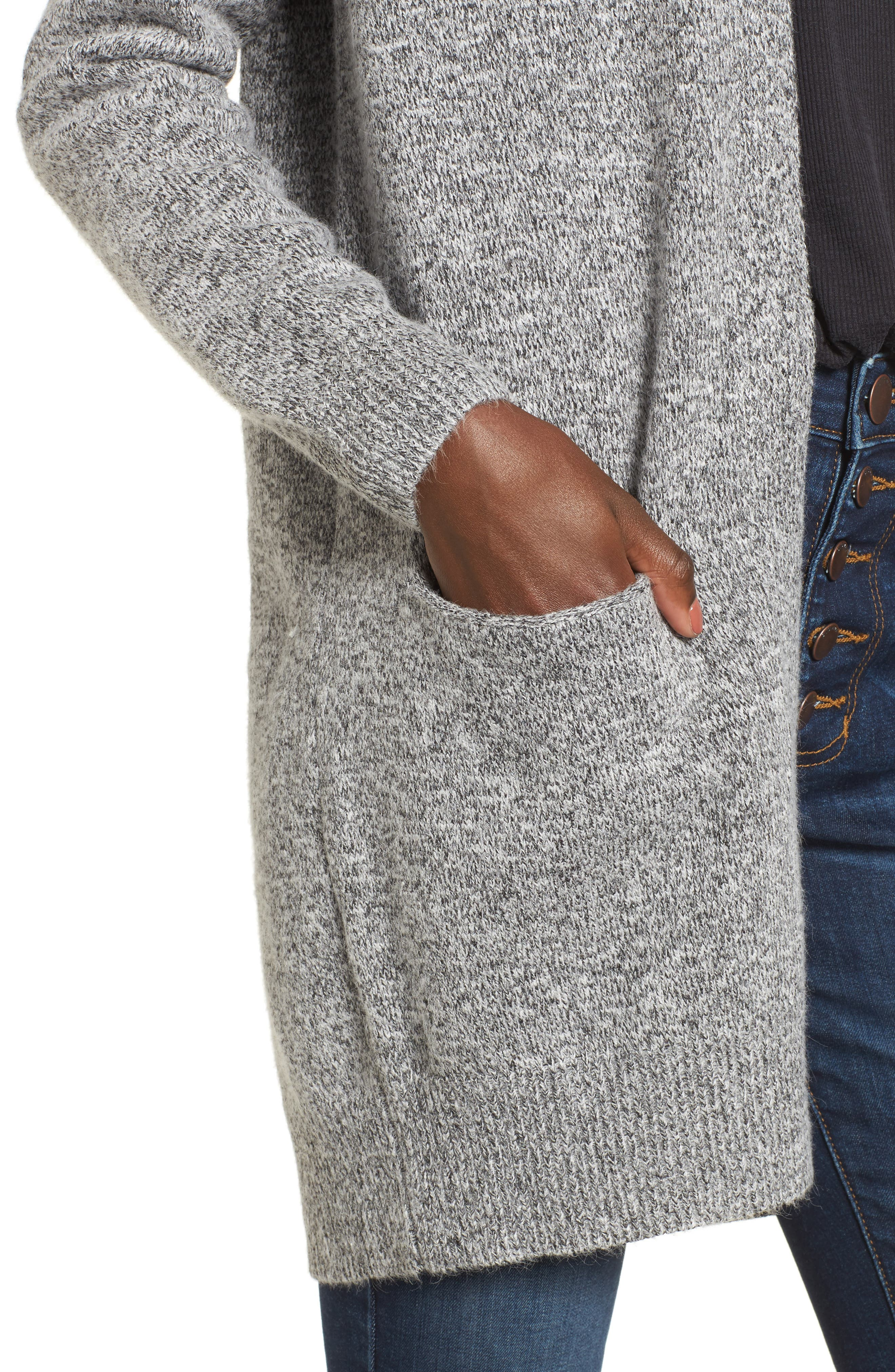 Cozy Open Cardigan,                             Alternate thumbnail 4, color,                             001