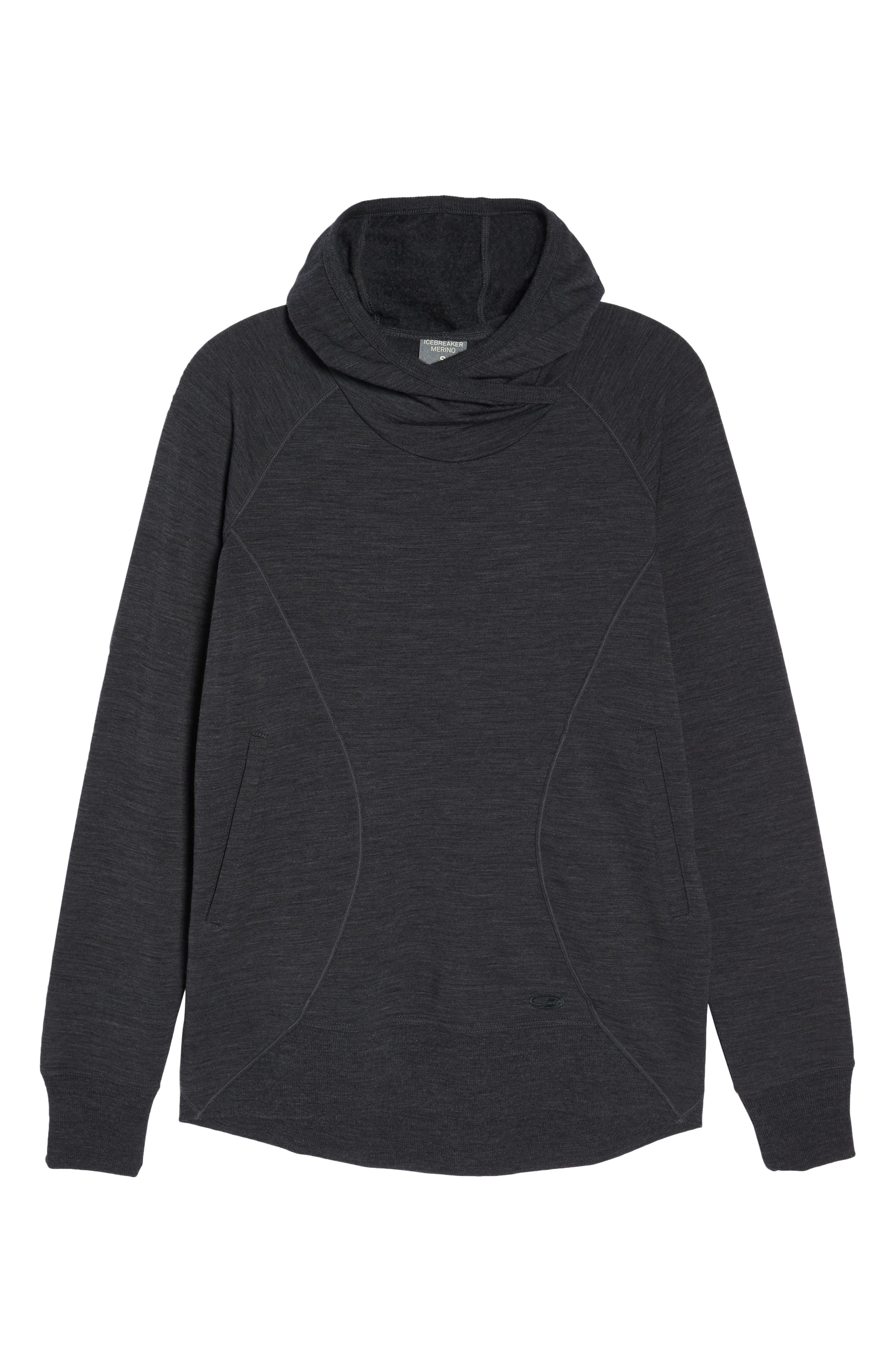 ICEBREAKER,                             Dia RealFLEECE<sup>®</sup> Pullover Hoodie,                             Alternate thumbnail 7, color,                             JET HEATHER